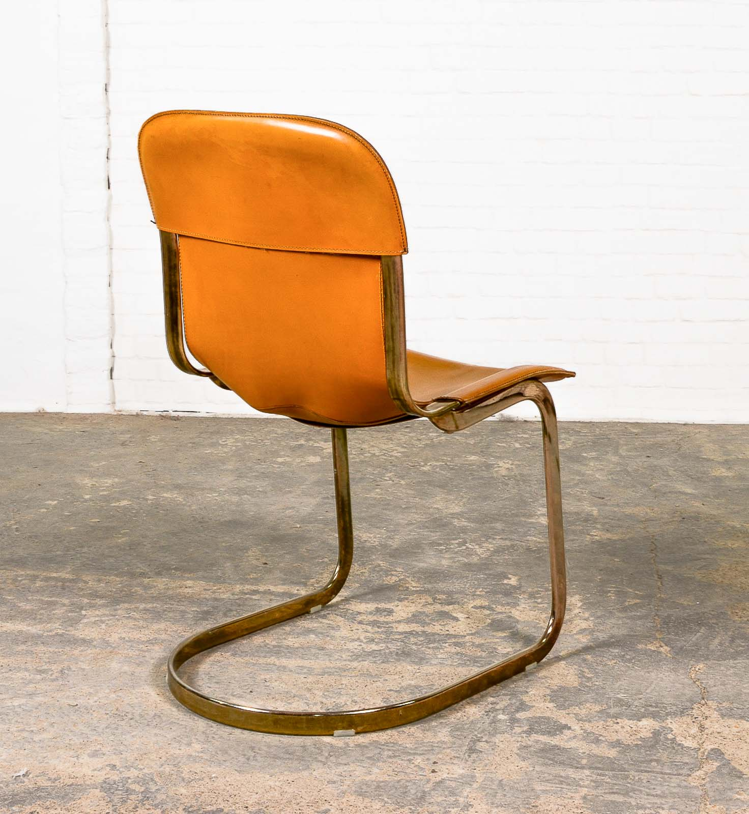 Mid Century Leather Brass Dining Chairs by Willy Rizzo for Cidue