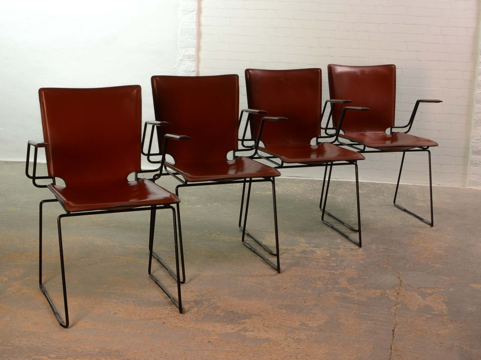 Italian red leather and enameled black steel frame dining for Leather and steel dining chairs