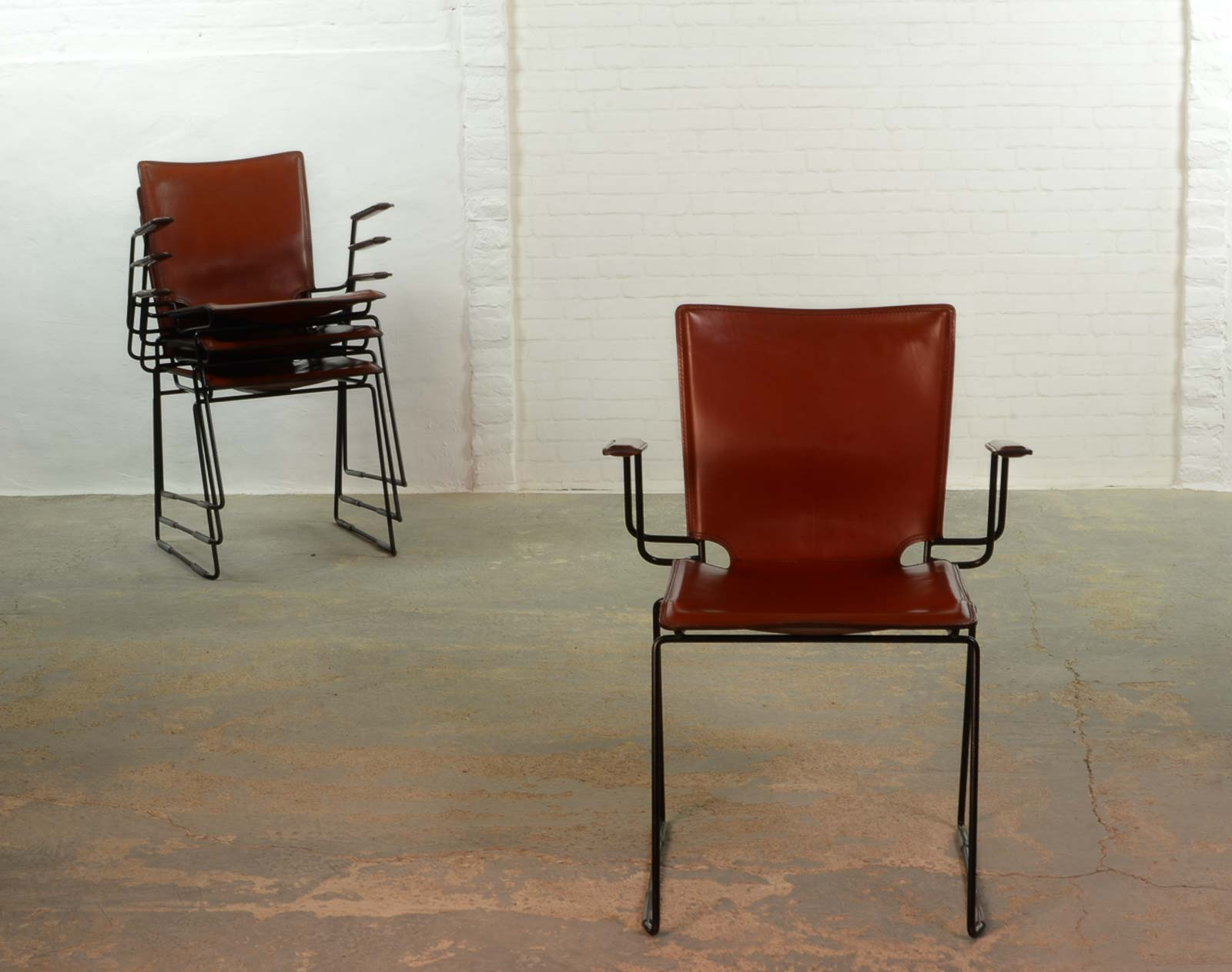 Italian Red Leather And Enameled Black Steel Frame Dining