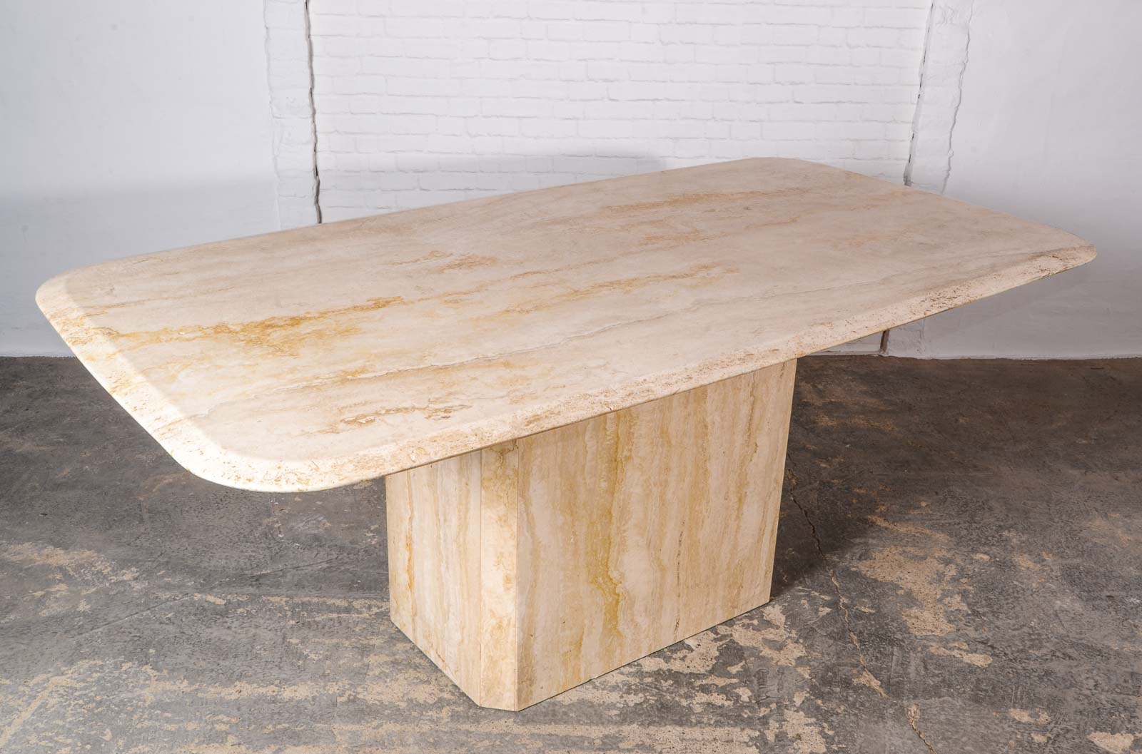 Mid Century High Quality Travertine Dining Table
