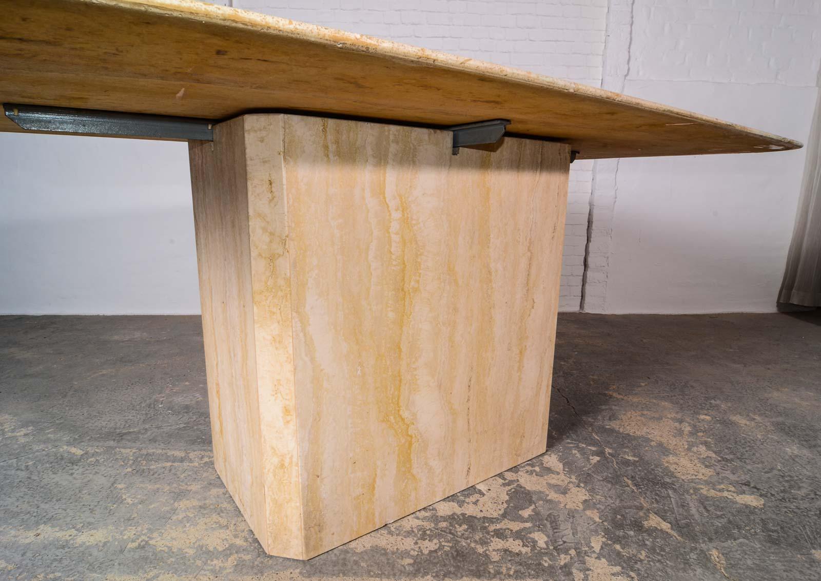 Mid century high quality travertine dining table for Travertine dining table