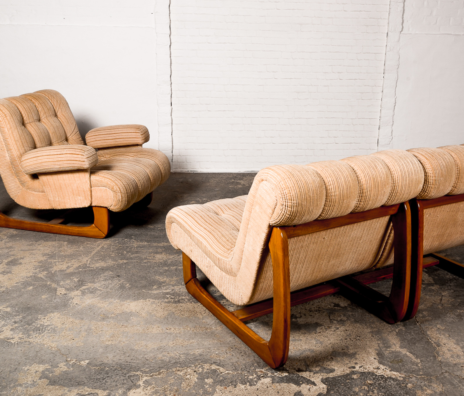 Mid Century Scandinavian Corduroy Sofaset and Lounge Chair