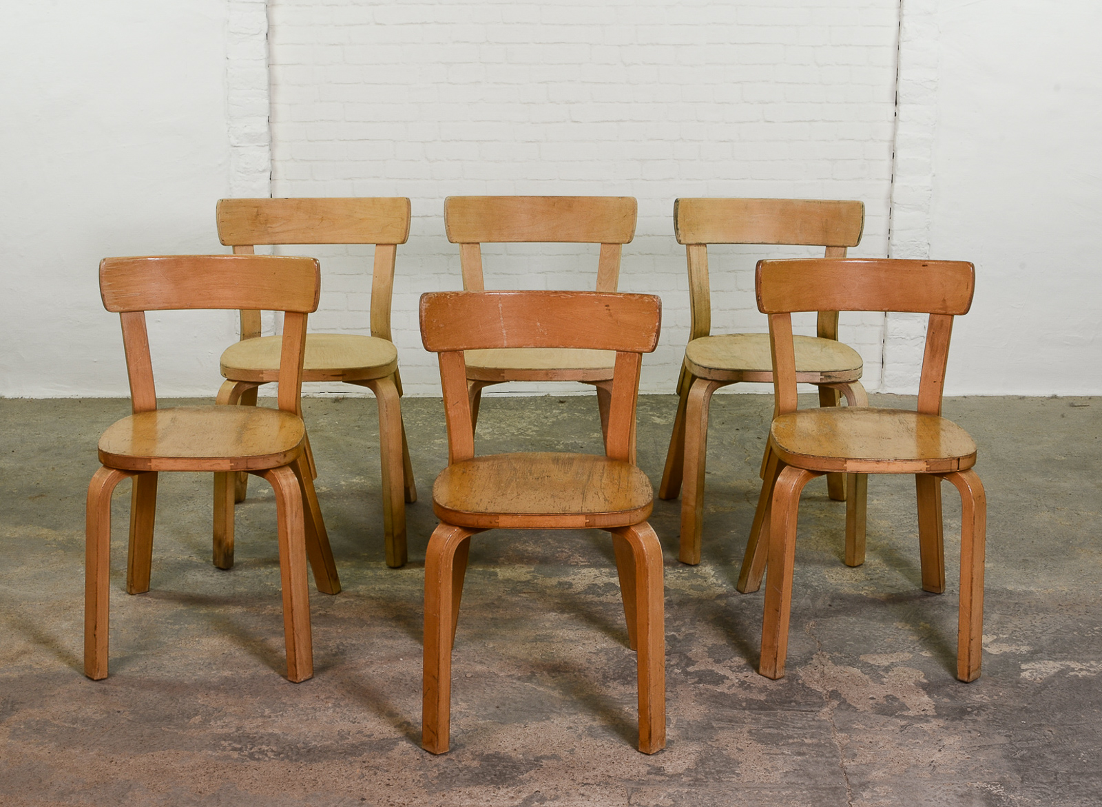 Set Of 6 Alvar Aalto Chairs 69 For Artek