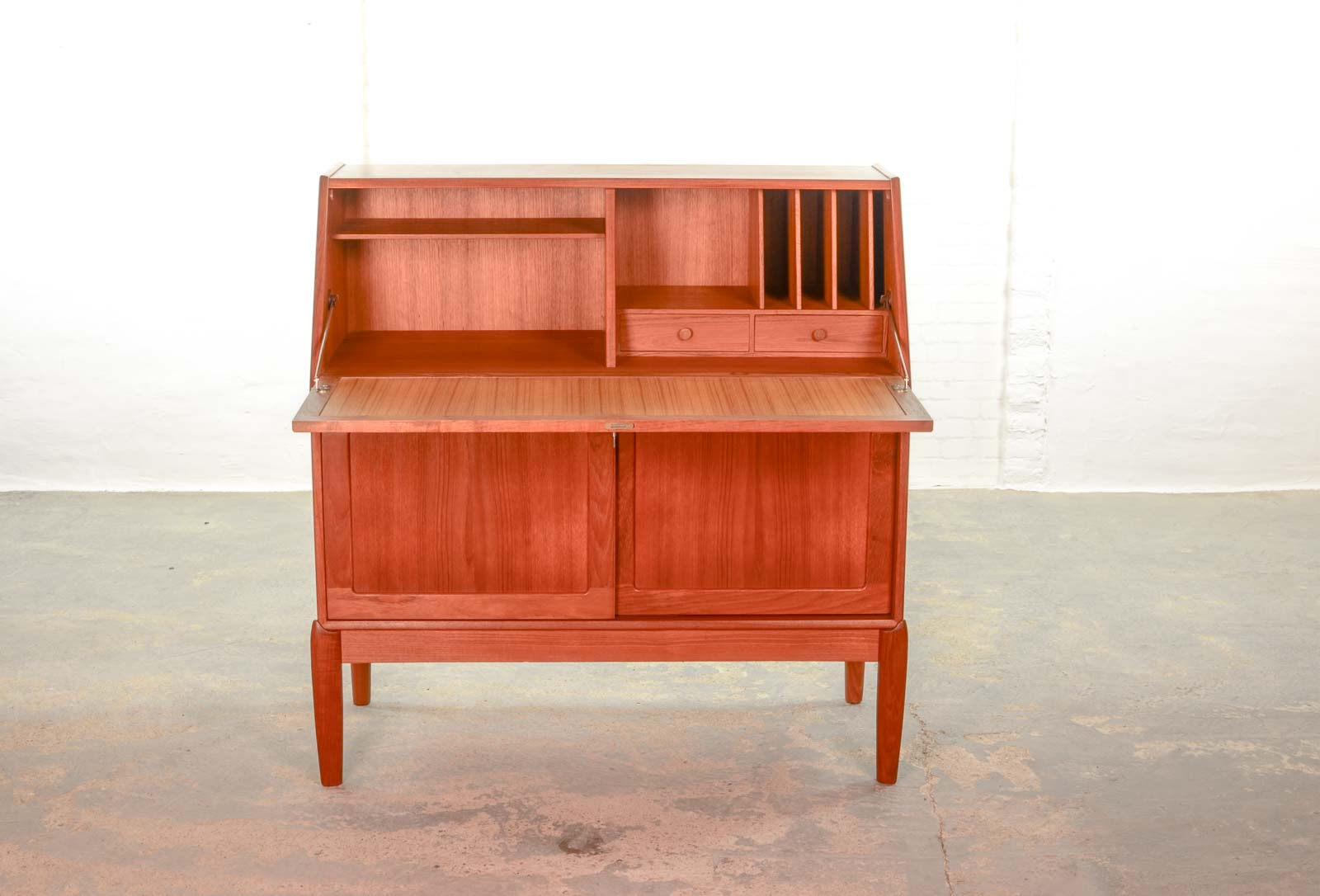 mid century danish teak writing desk cabinet by h w klein for
