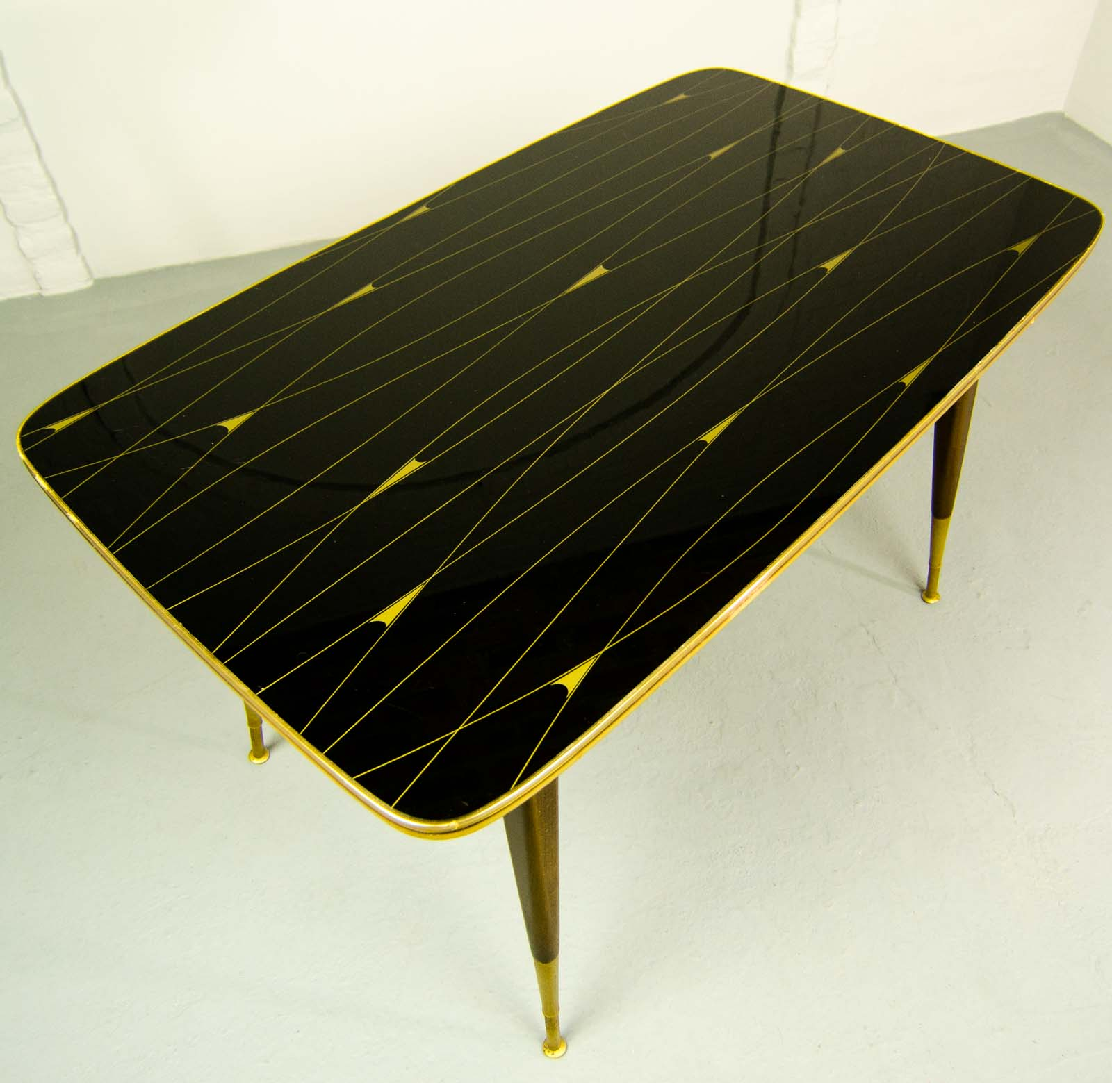 Mid Century Elegant Brass with Black and Gold Painted Glass Game