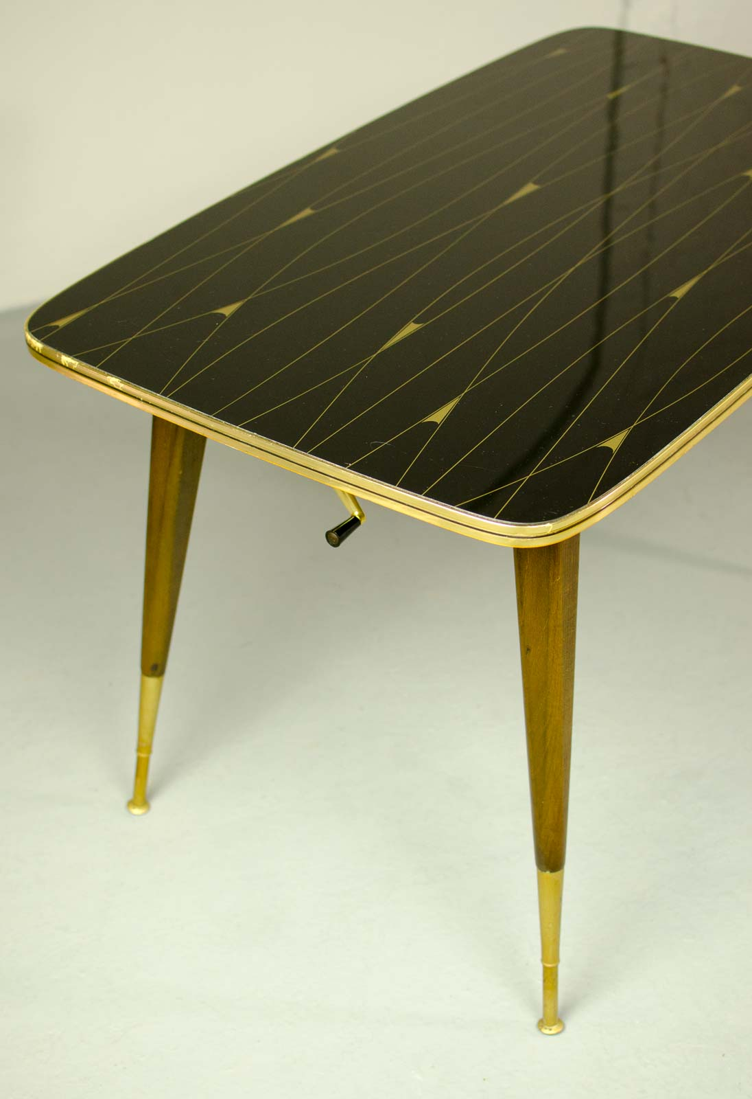 MidCentury Elegant Brass With Black And Gold Painted Glass Game - Mid century wood and glass coffee table