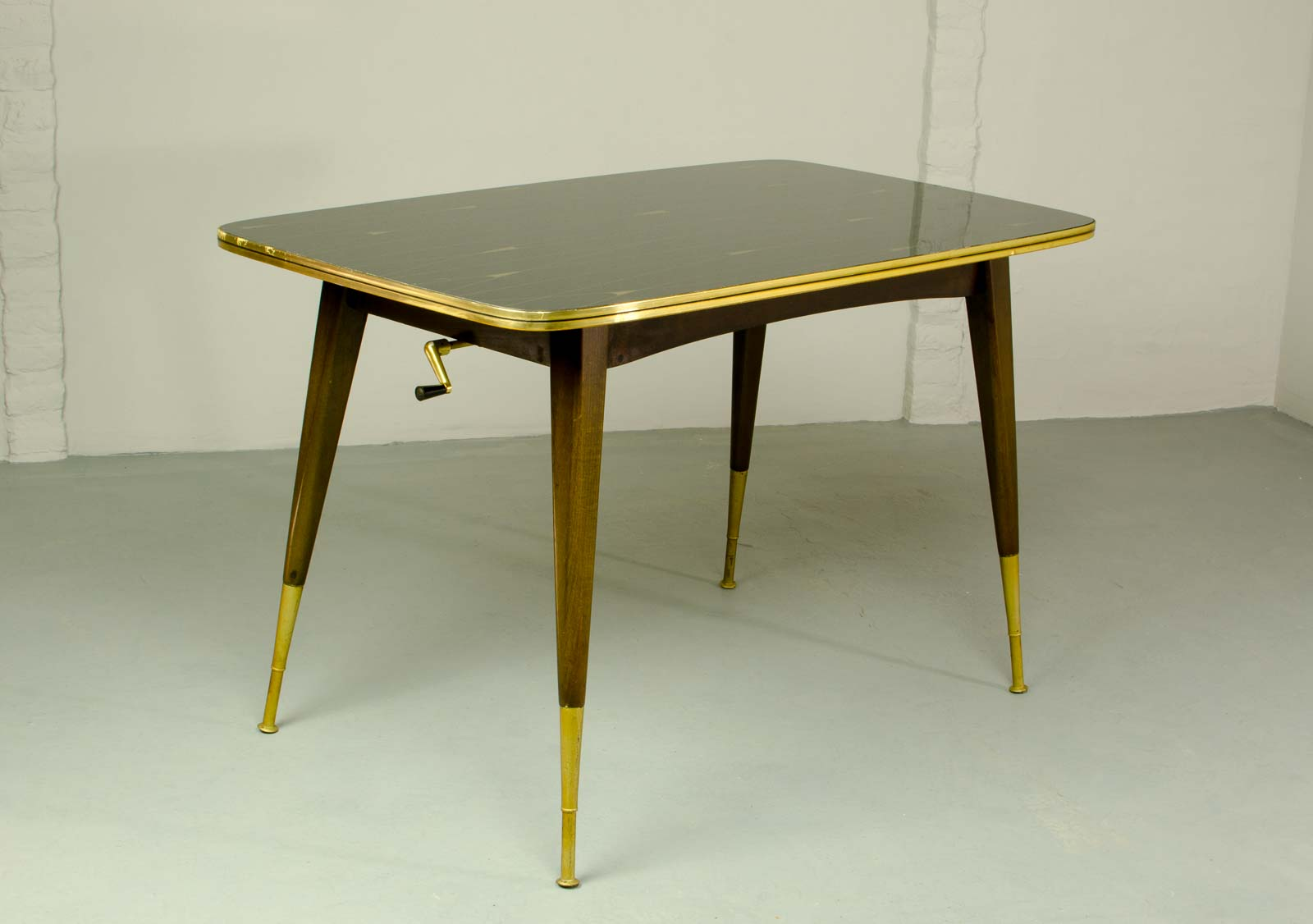Mid Century Elegant Brass With Black And Gold Painted Glass Game Table Hpvintage Com