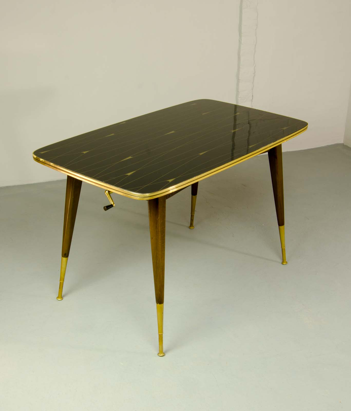 Mid-Century Elegant Brass With Black And Gold Painted