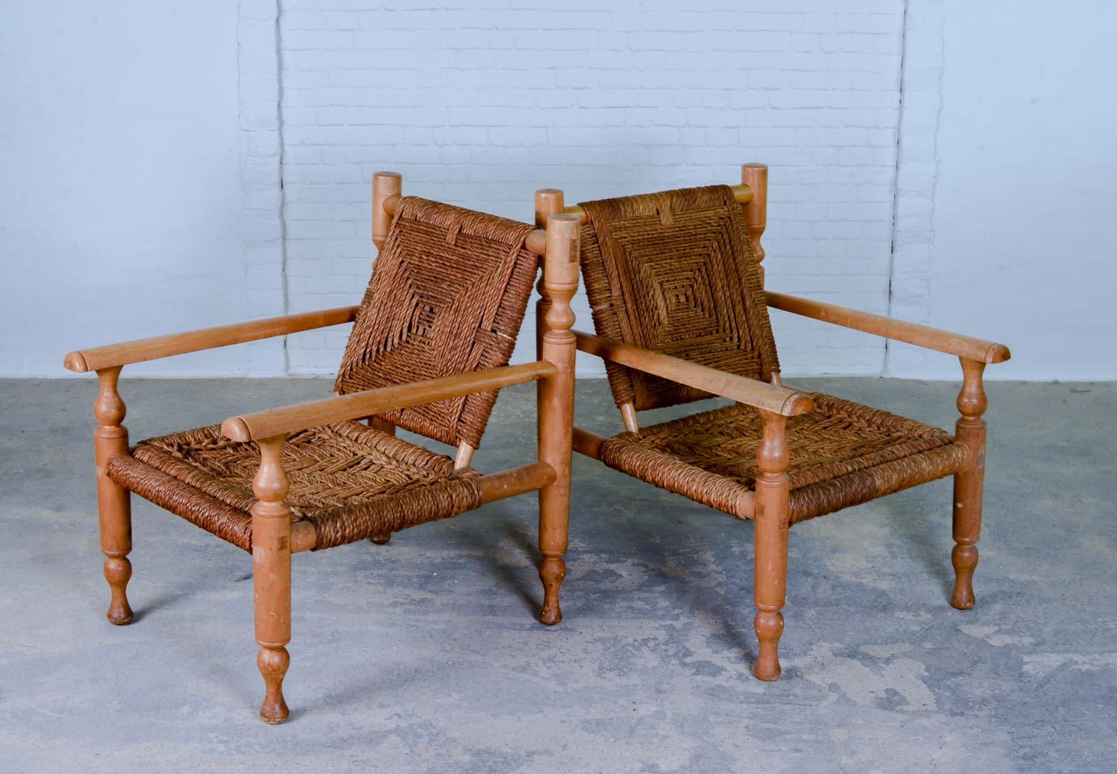 Marvelous Mid Century Pair Of Easy Chairs In Style Of Charlotte Inzonedesignstudio Interior Chair Design Inzonedesignstudiocom