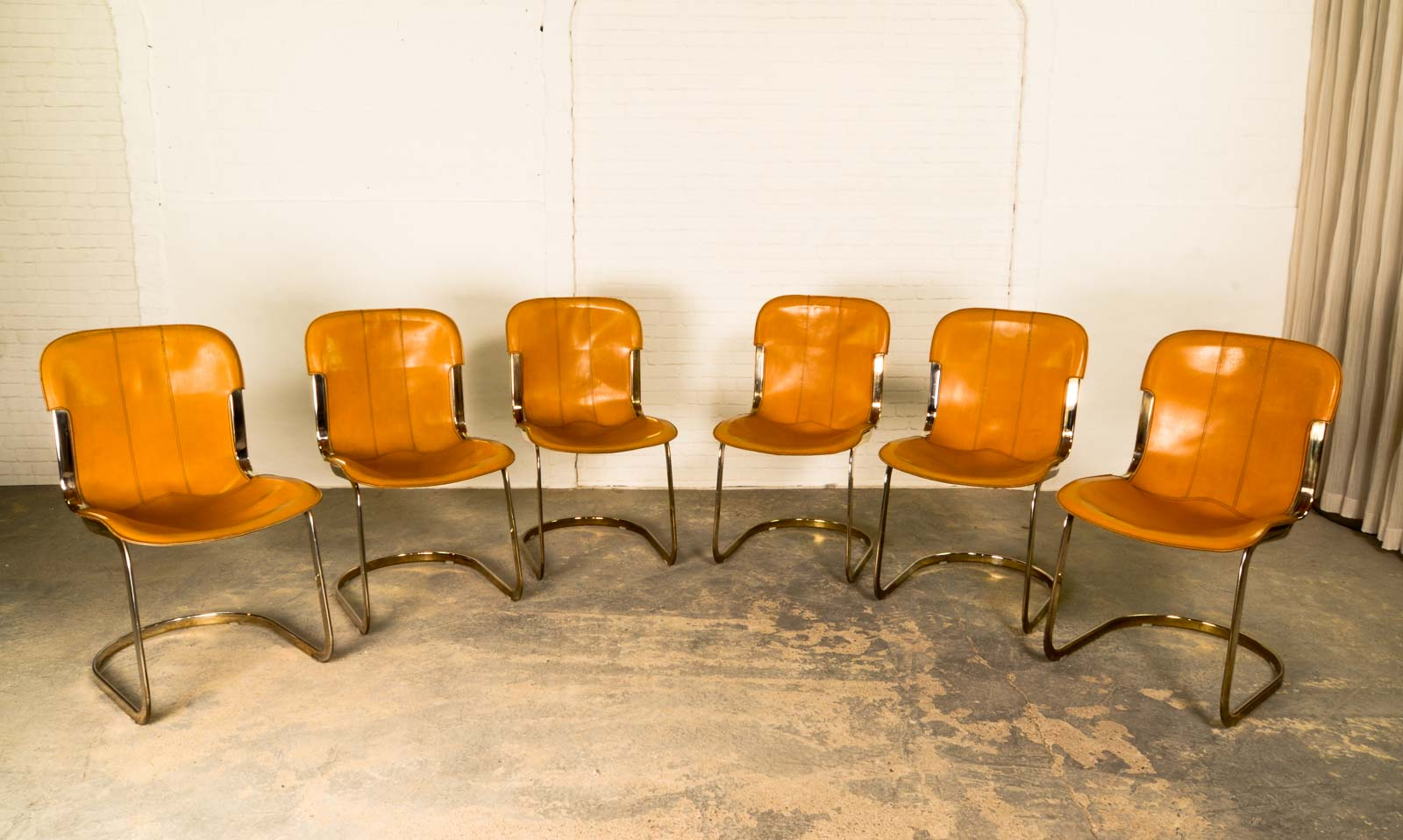 Mid Century Brass Leather Dining Chairs By Willy Rizzo For Cidue