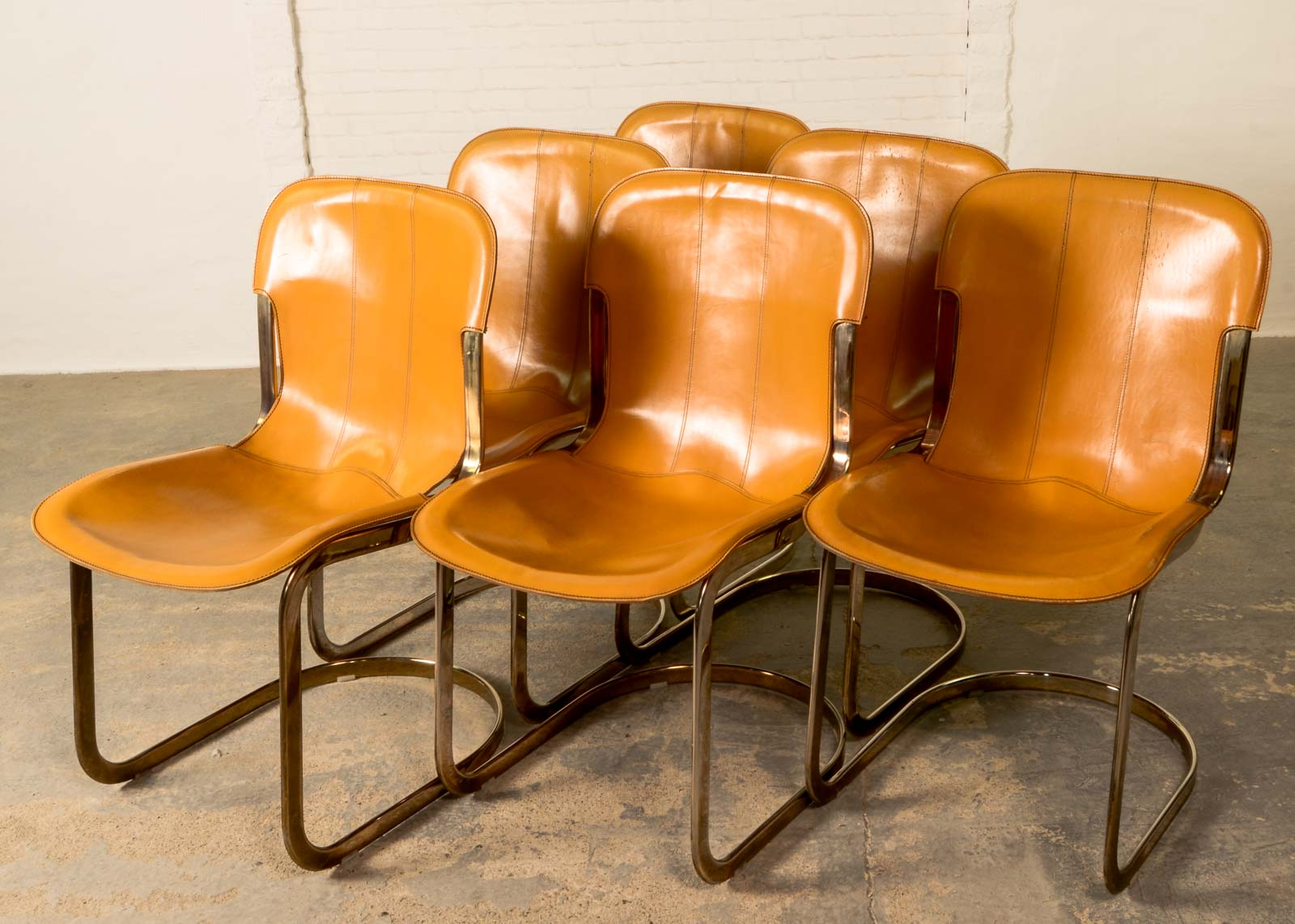 MidCentury Leather Brass Dining Chairs by Willy Rizzo for Cidue