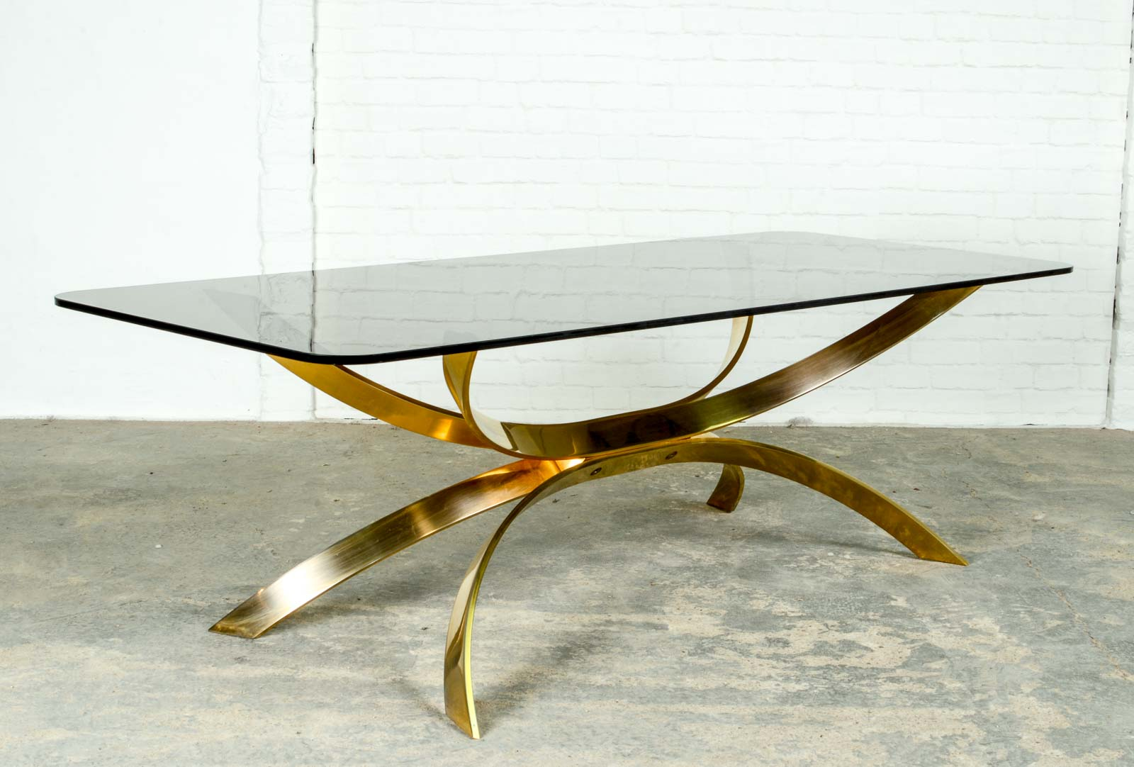 Sculptured Gold Italian Coffee Table In Style Of Osvaldo Borsani