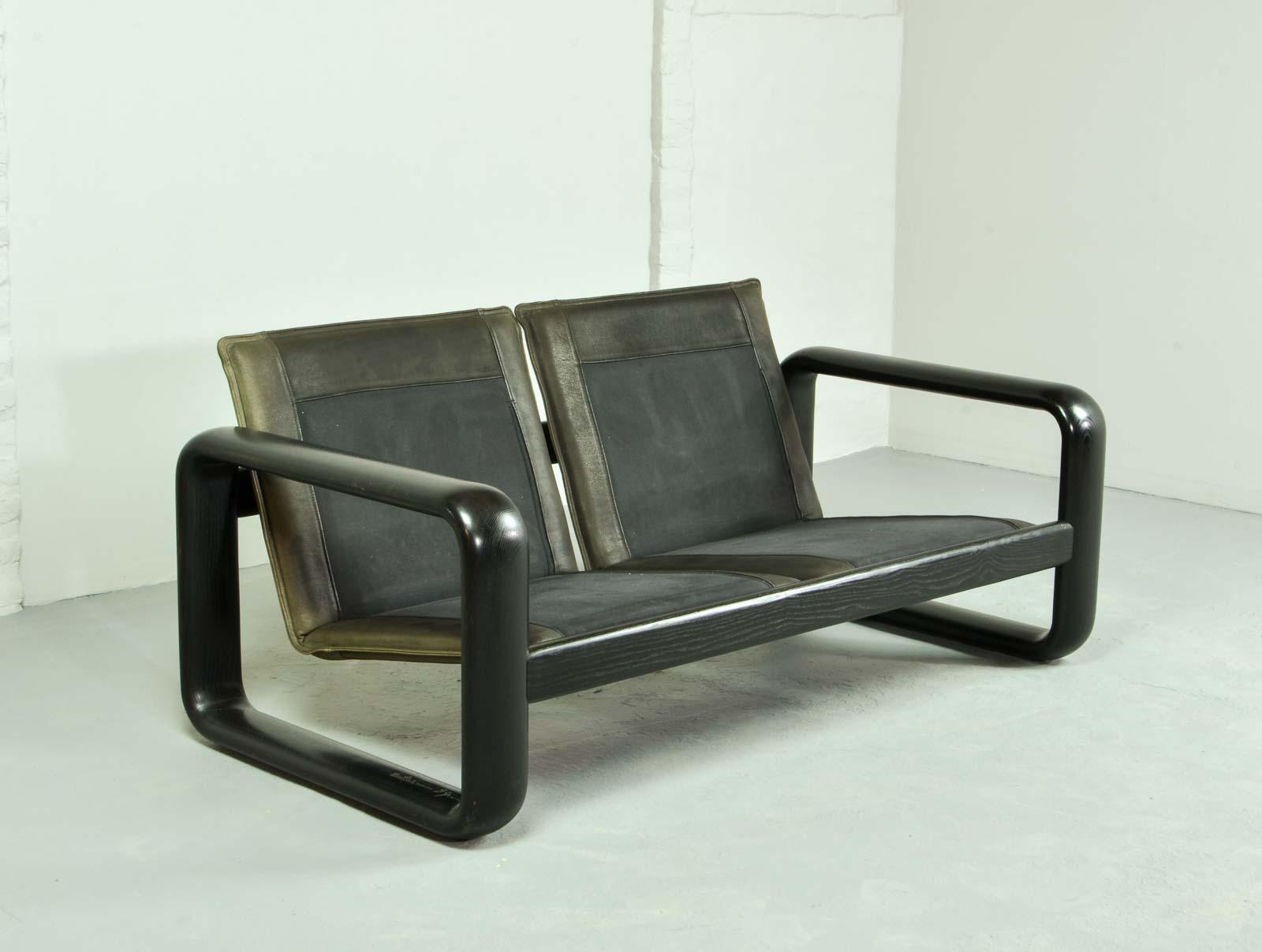 midcentury leather sofa by burkhard vogtherr for rosenthal studio line