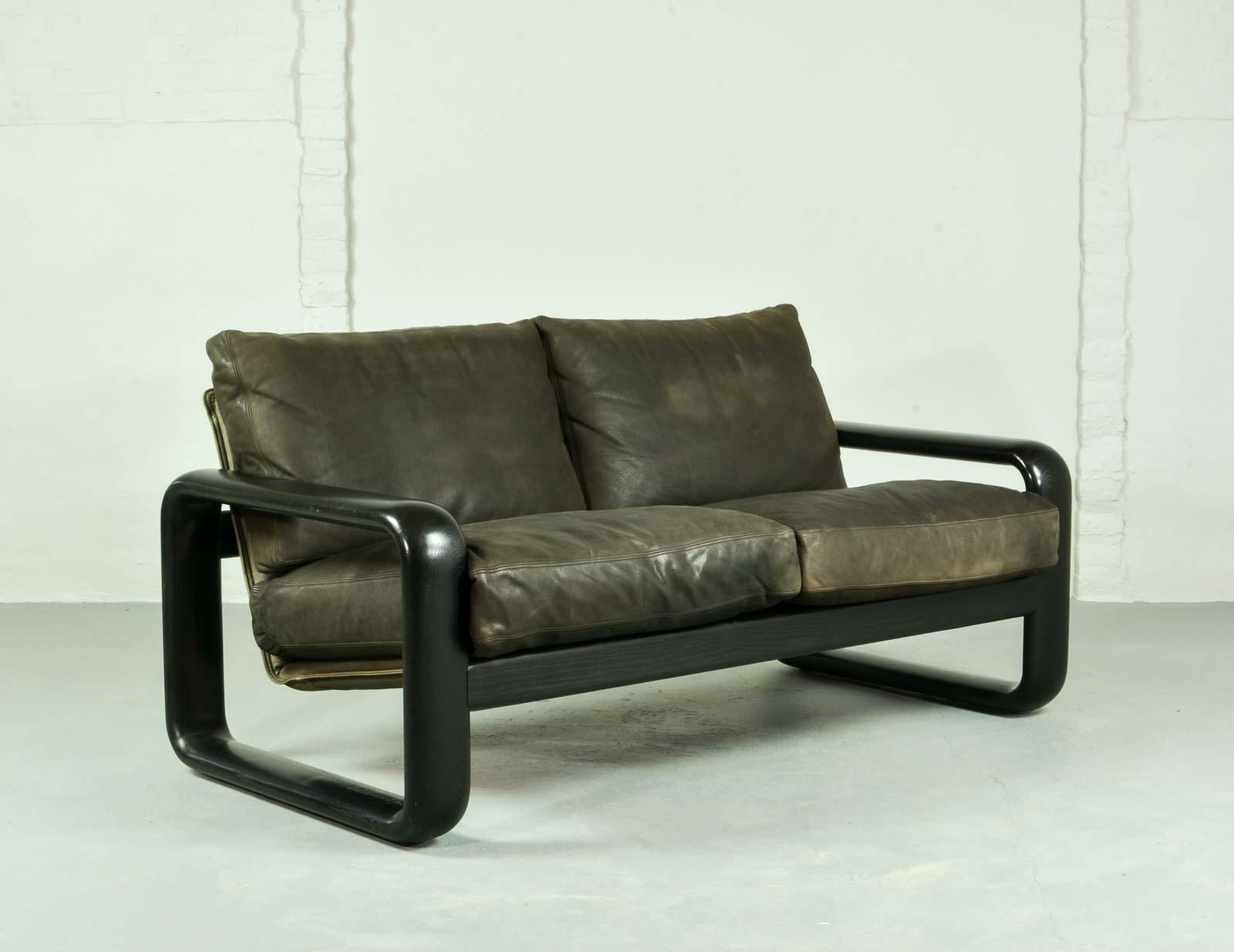 Mid Century Leather Sofa U0027Hombreu0027 By Burkhard Vogtherr For Rosenthal Studio  Line
