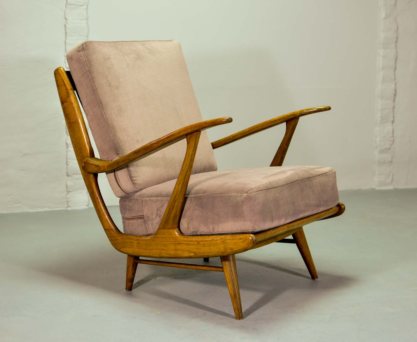 Mid Century Art Deco Influenced Spindle Back Lounge Chairs, 1950s