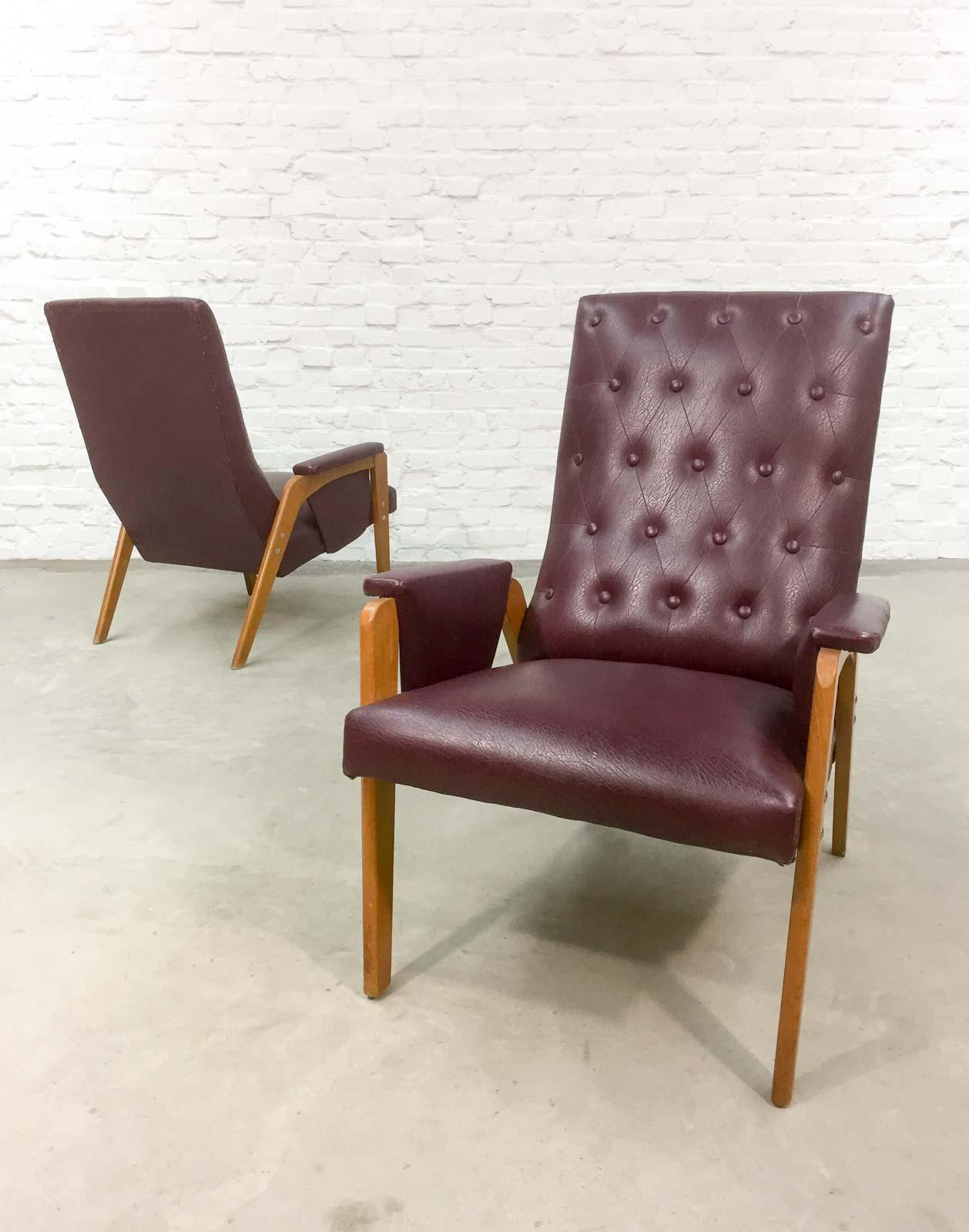 Dutch design burgundy red lounge chair 1960s for Dutch design chair karton