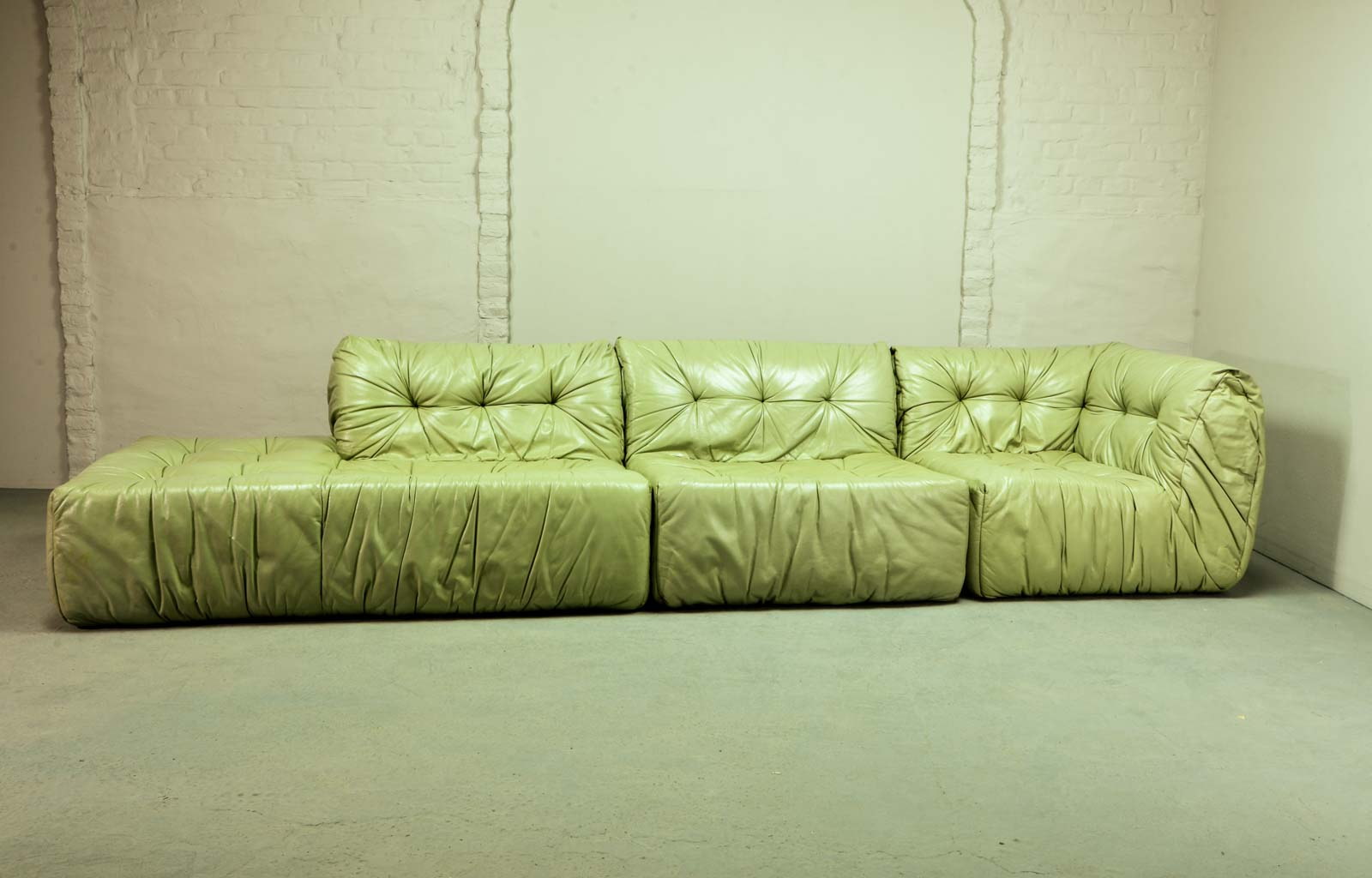 Rare Mint Green Leather Roche Bobois Modular Lounge Sofa