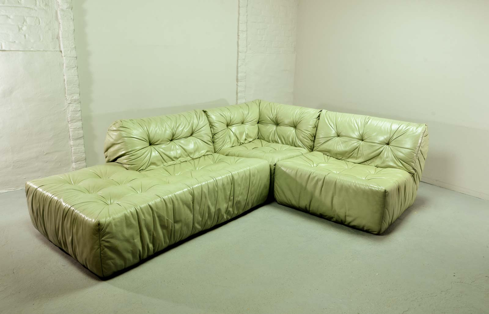 Rare Mid Century Mint Green Leather Modular Lounge Sofa By