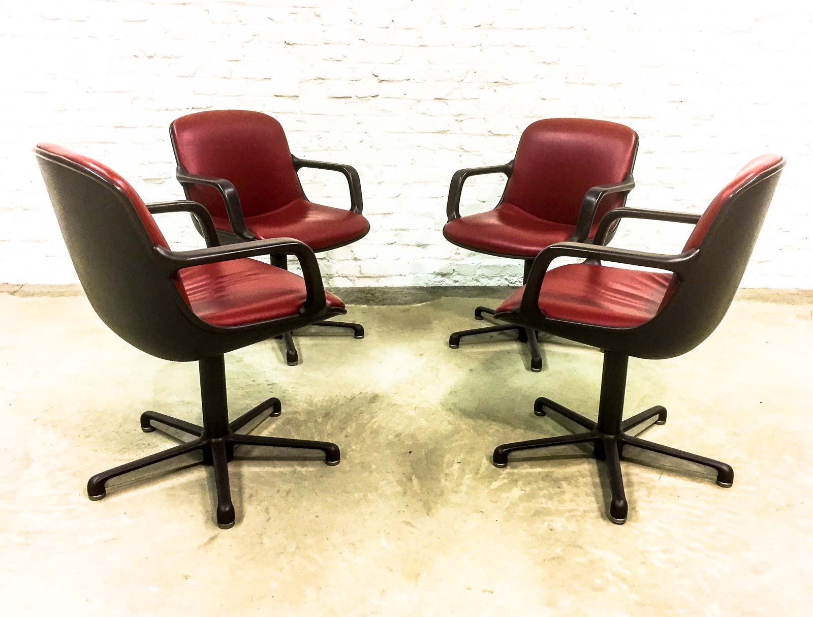 Set of 8 Mid Century Burgundy Red Leather Executive Chairs by