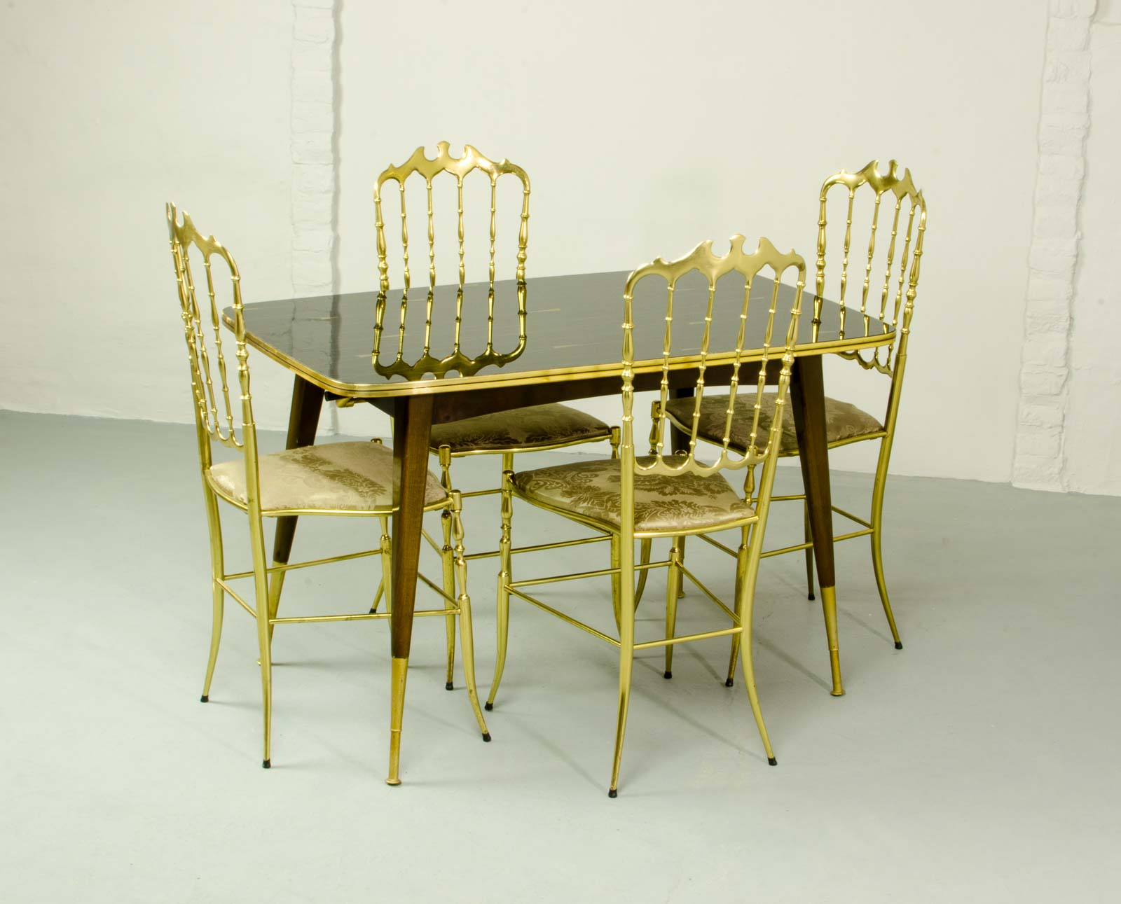 Midcentury Italian Dining Set of 4 Brass Chiavari Chairs and