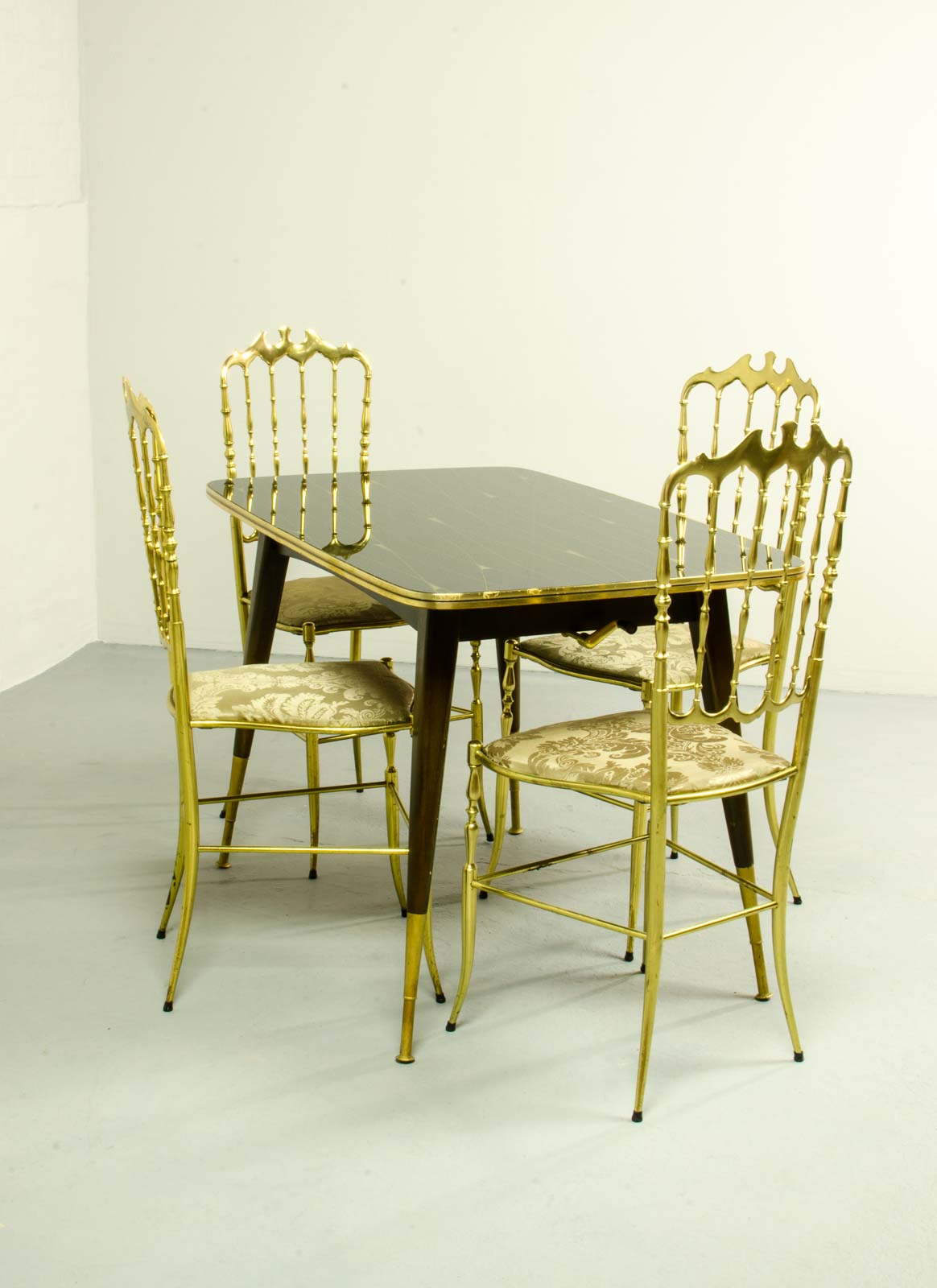 Midcentury Italian Dining Set of 4 Brass Chiavari Chairs and Dining ...