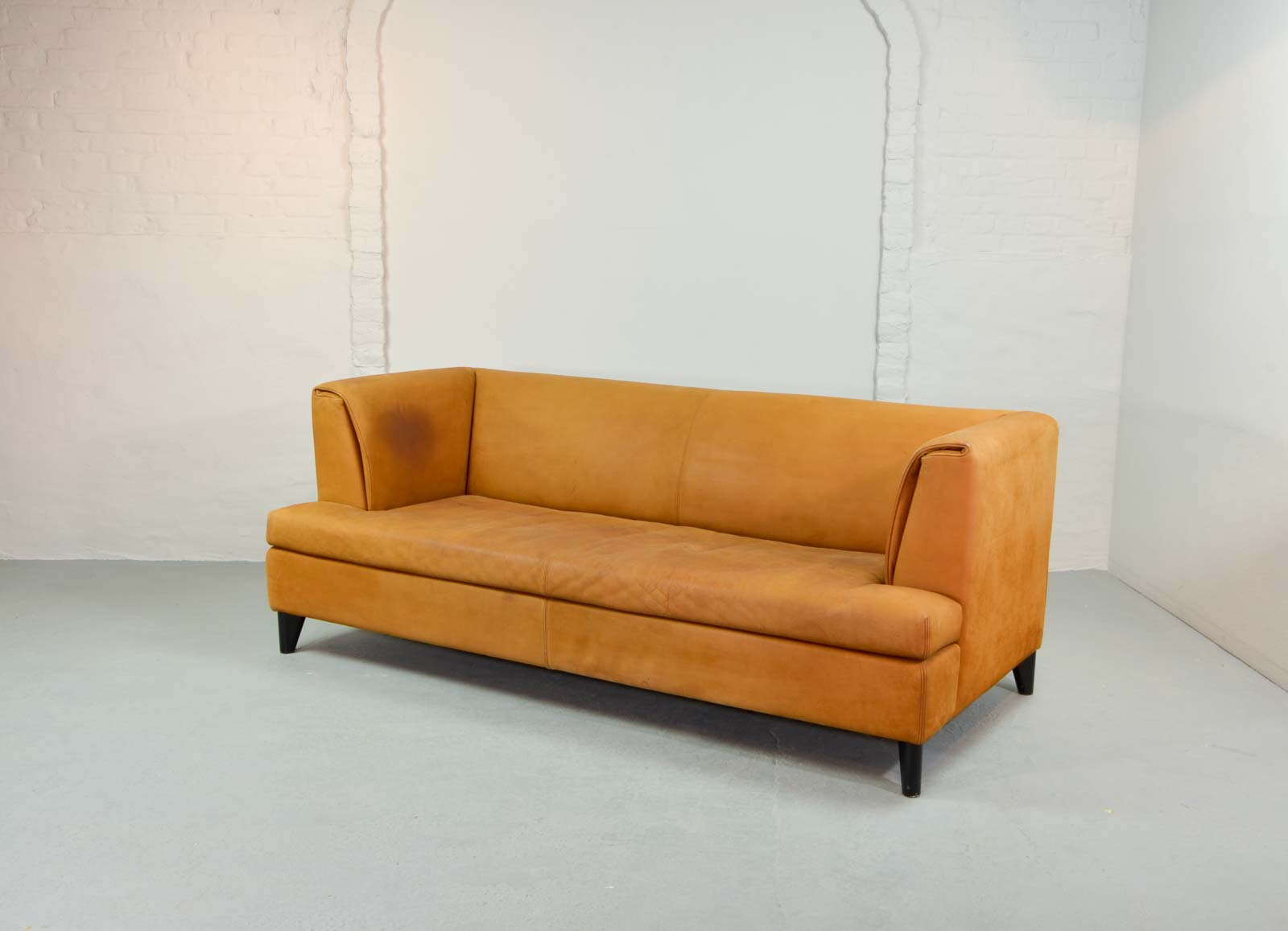 mid century cognac colored nubuck leather sofa by paolo piva for wittmann. Black Bedroom Furniture Sets. Home Design Ideas