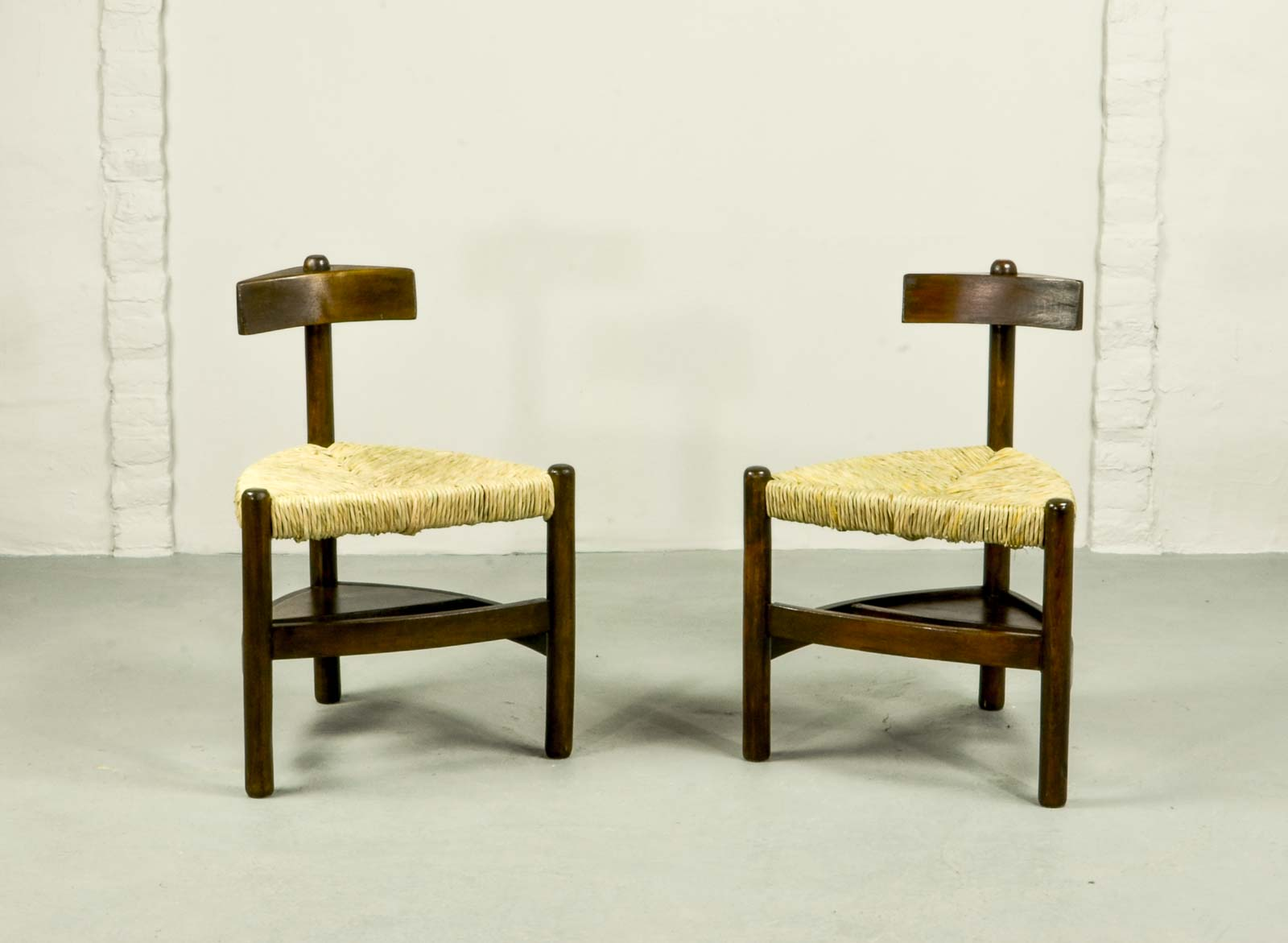 Rare Pair of Oak Tree and Rush Chairs in Style of Charlotte Perriand for Meribel & Rare Pair of Oak Tree and Rush Chairs in Style of Charlotte Perriand ...