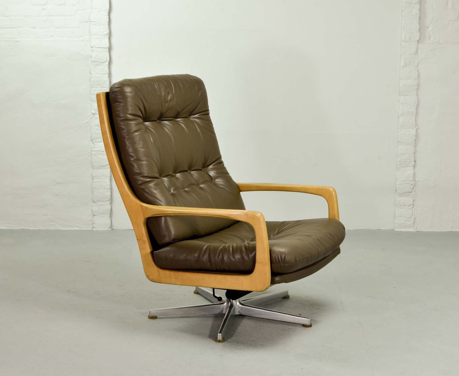 luxurious leather lounge chair designed by eugen schmidt 1970s