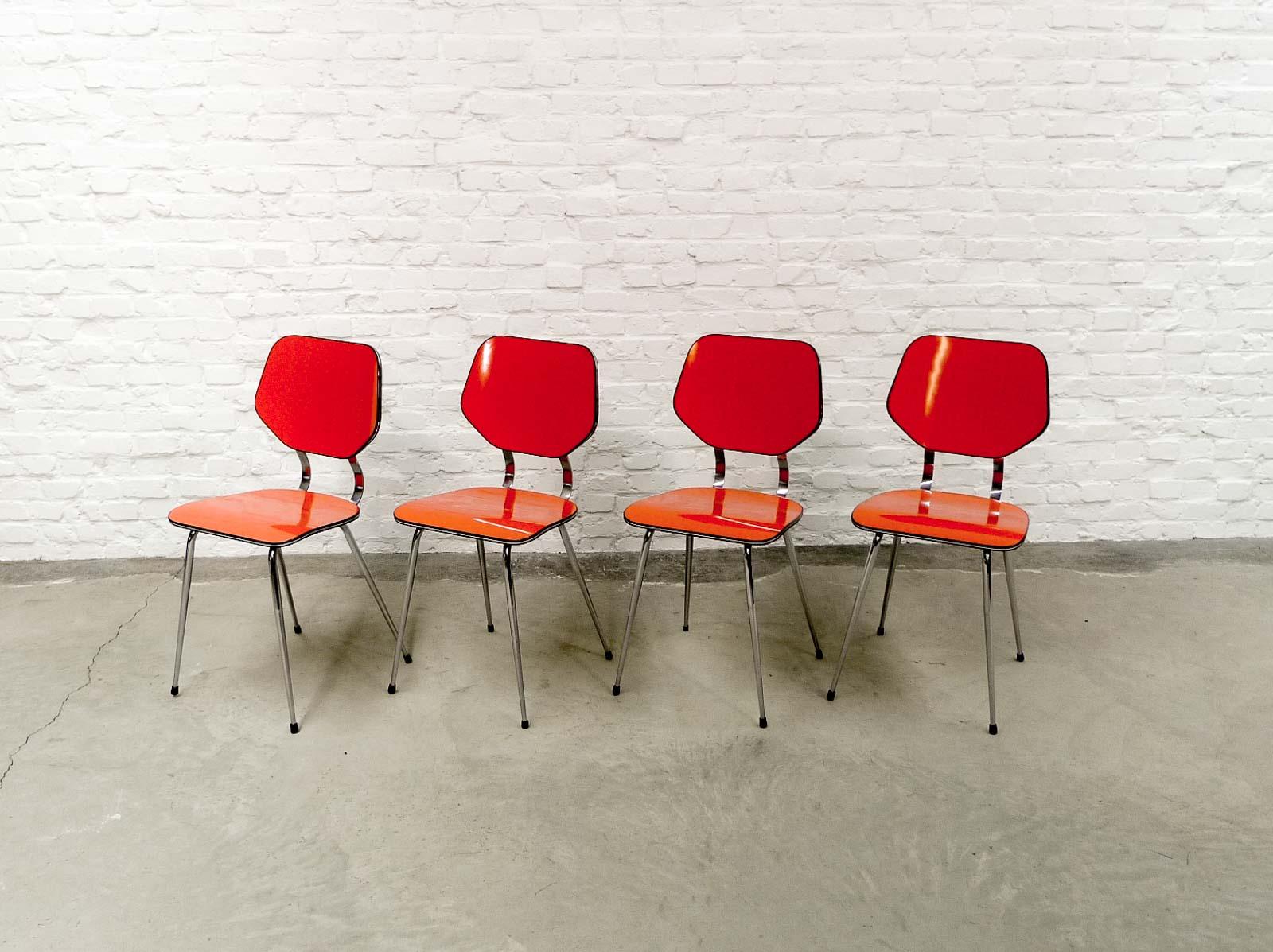 Set Of 4 Enchanting Bright Orange Brabantia Kitchen Chairs 1960s