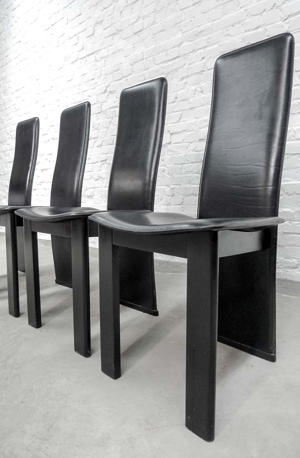 Set Of 4 Mid-Century Black Sadle Leather High Back Dining