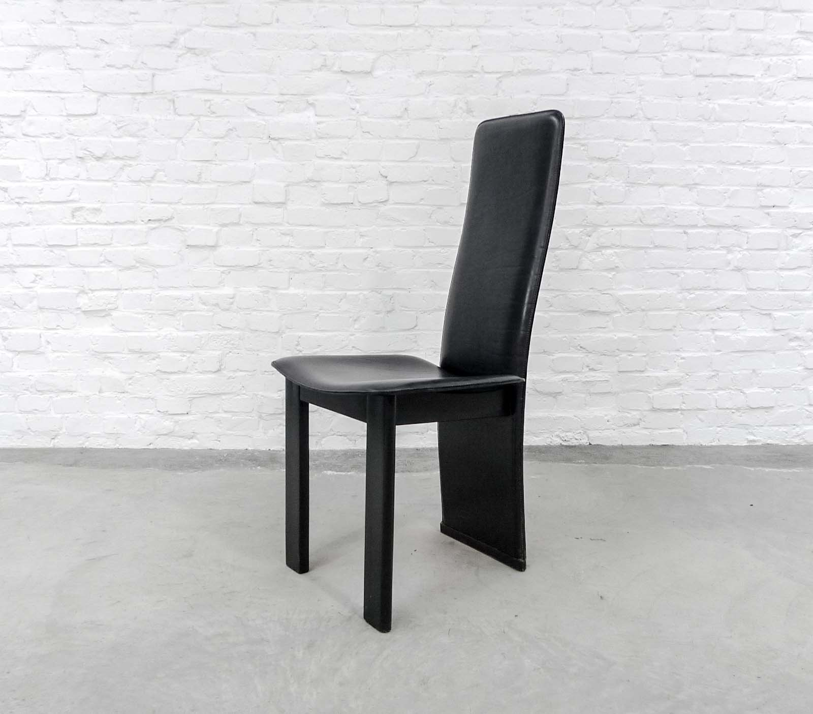 set of 4 mid century black sadle leather high back dining chairs in style of cidue. Black Bedroom Furniture Sets. Home Design Ideas