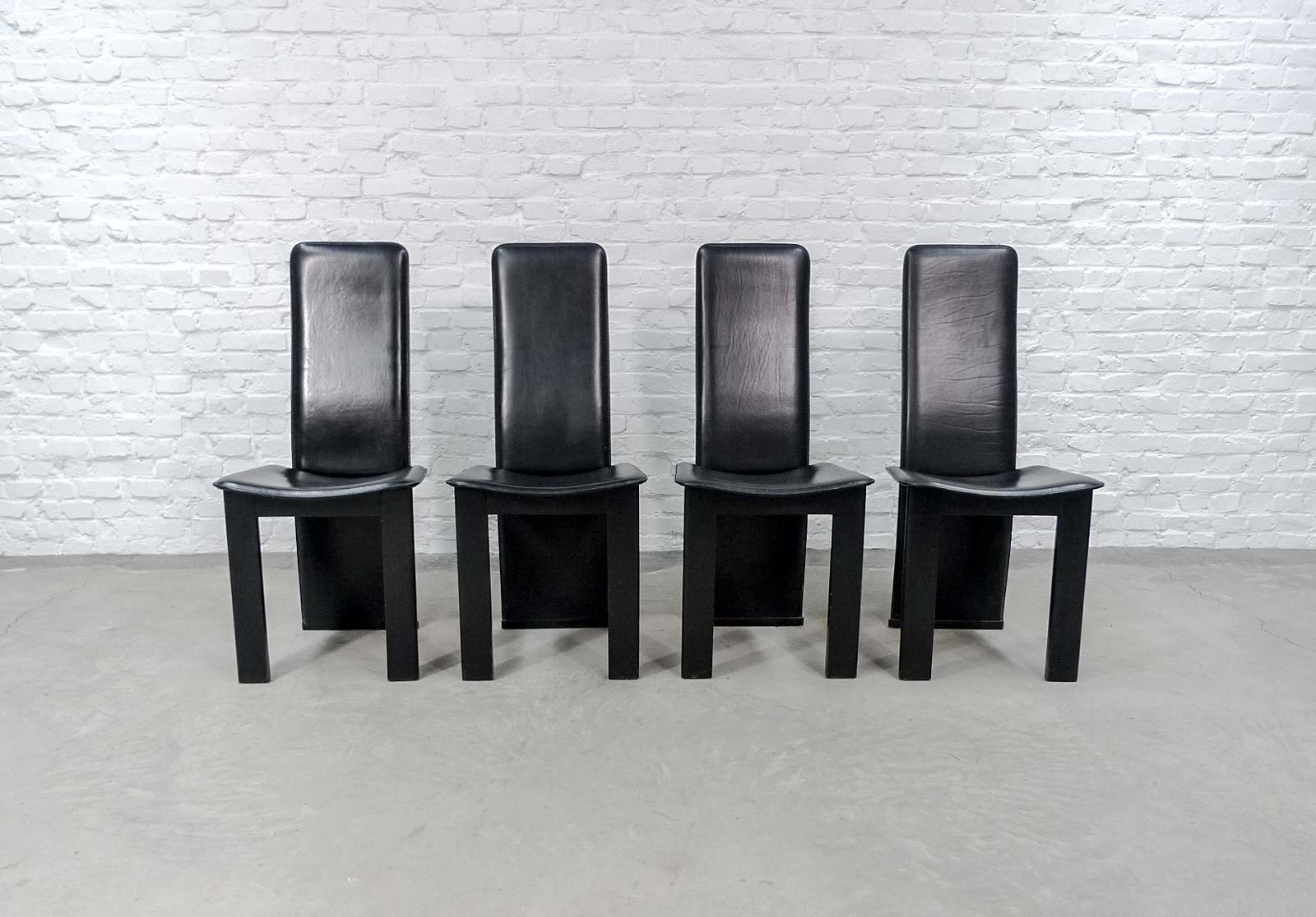 Set Of 4 Mid Century Black Sadle Leather High Back Dining Chairs In Style Of
