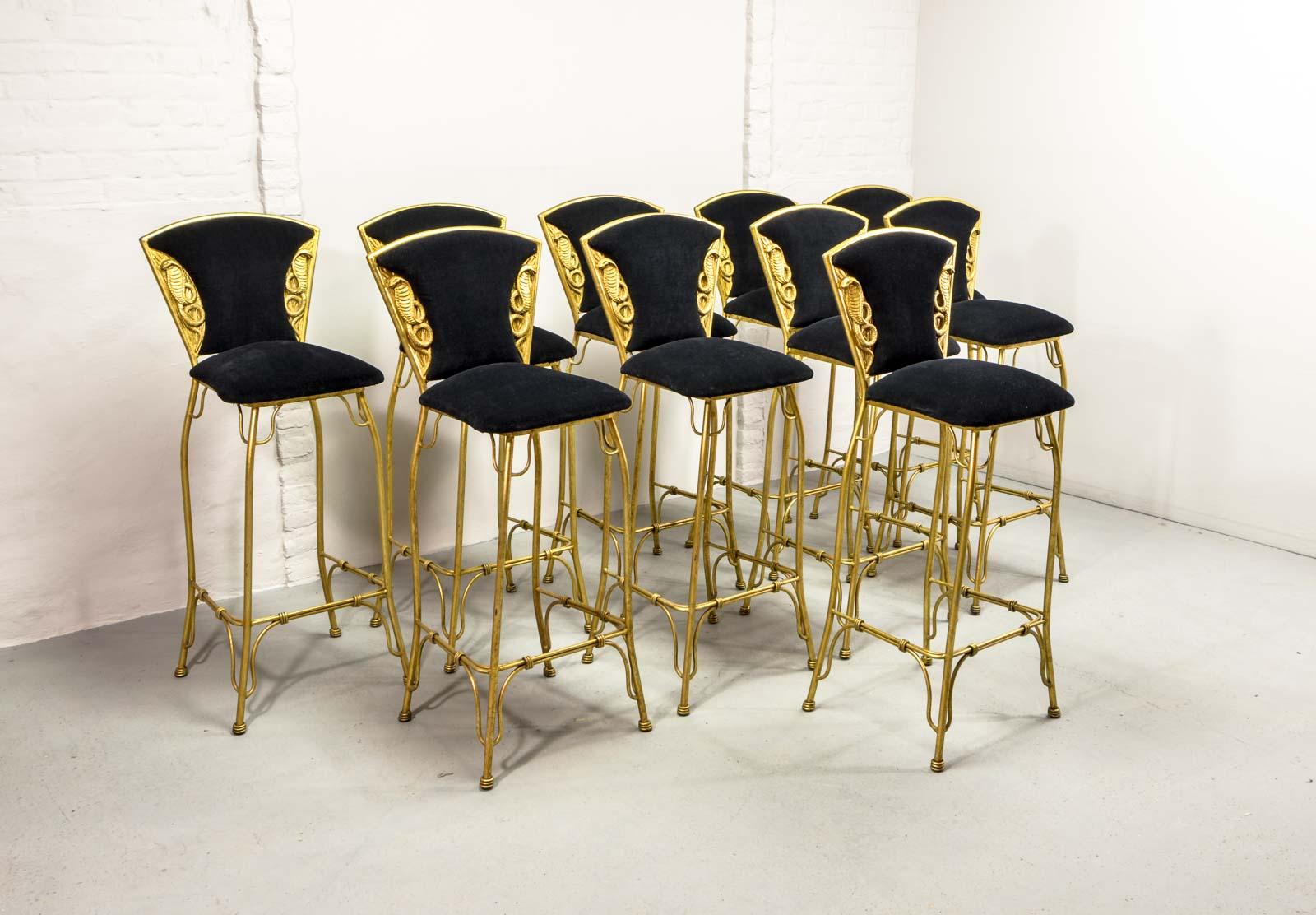 mid-century set of 10 gilded cobra bar stools | hpvintage 1970s Bar Stools