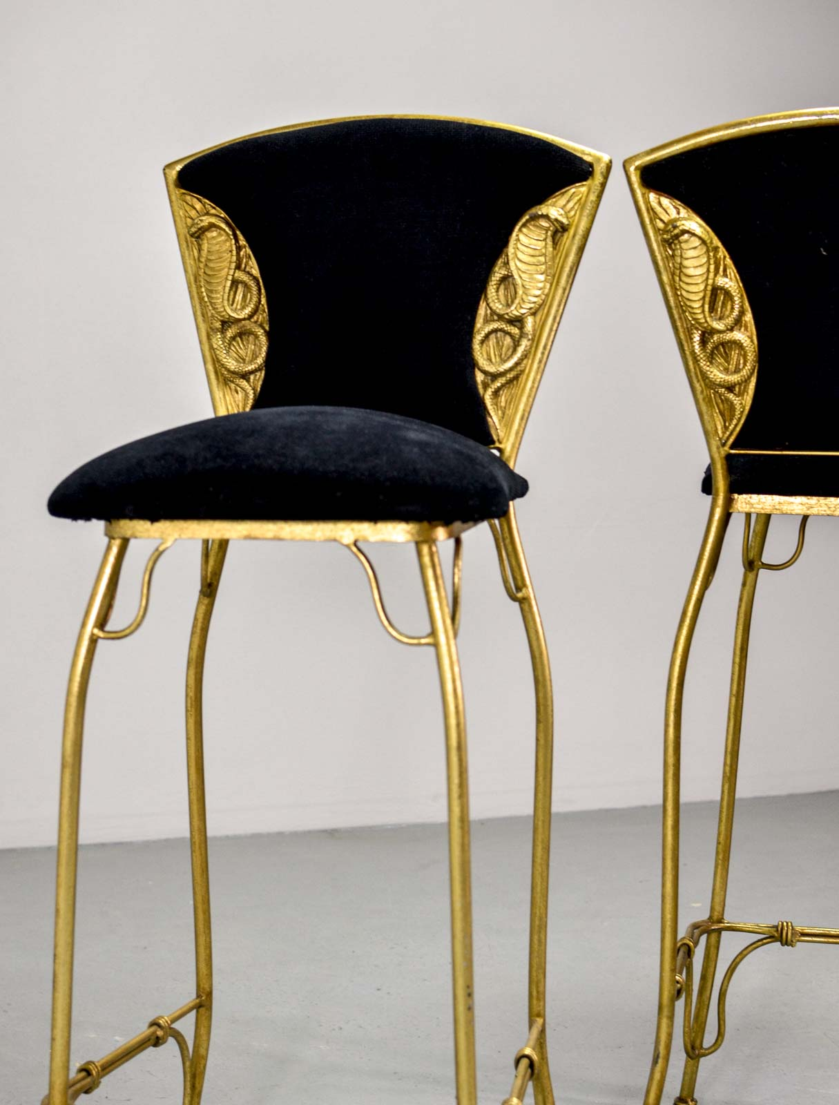 10 Mid Century Modern Design Lessons To Remember: Mid-Century Set Of 10 Gilded Cobra Bar Stools
