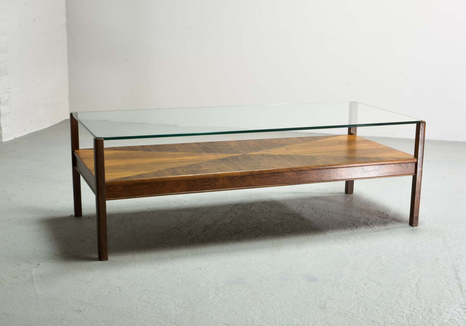 Stunning Dutch Design Rosewood Coffee Table With Glass Top For Fristho,  1960s