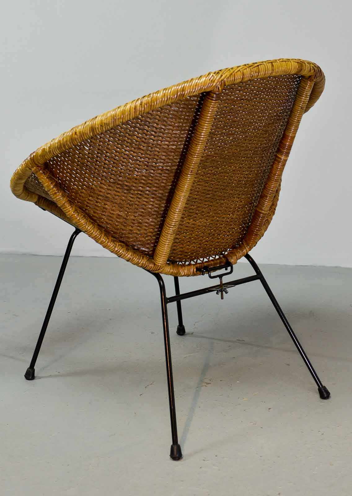 Stylish Pair Of 1950 Circle Shaped Rattan Cocktail Chairs In Style Of Dirk  Van Sliedregt For