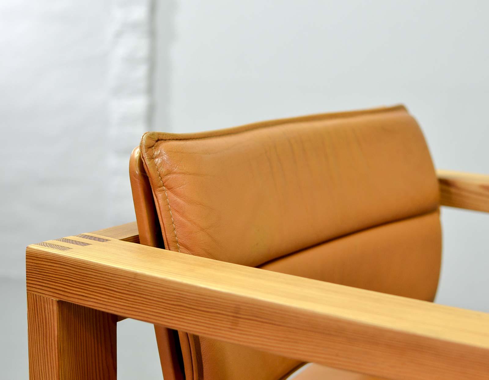 Mid century dutch design cognac leather cubic pinewood for Cognac design