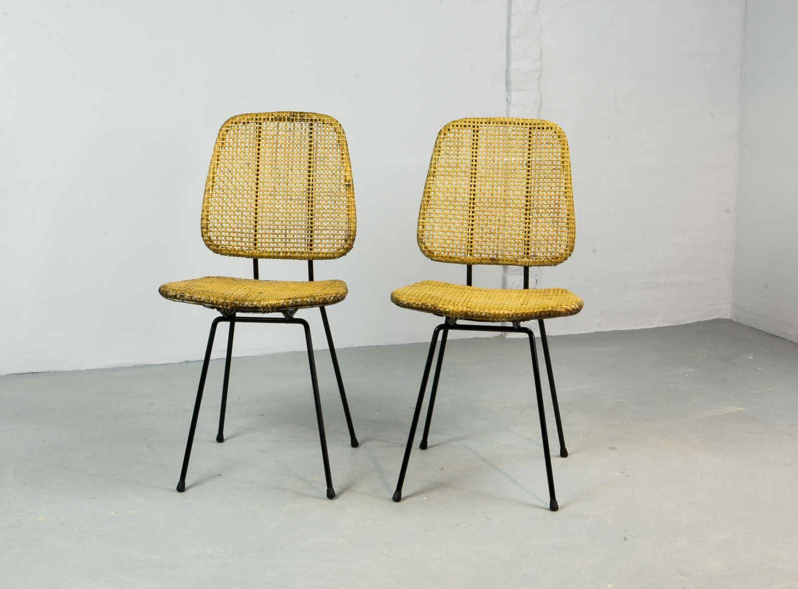 Pair of Elegant Cane Side Chairs Designed in Style of Dirk Van ...