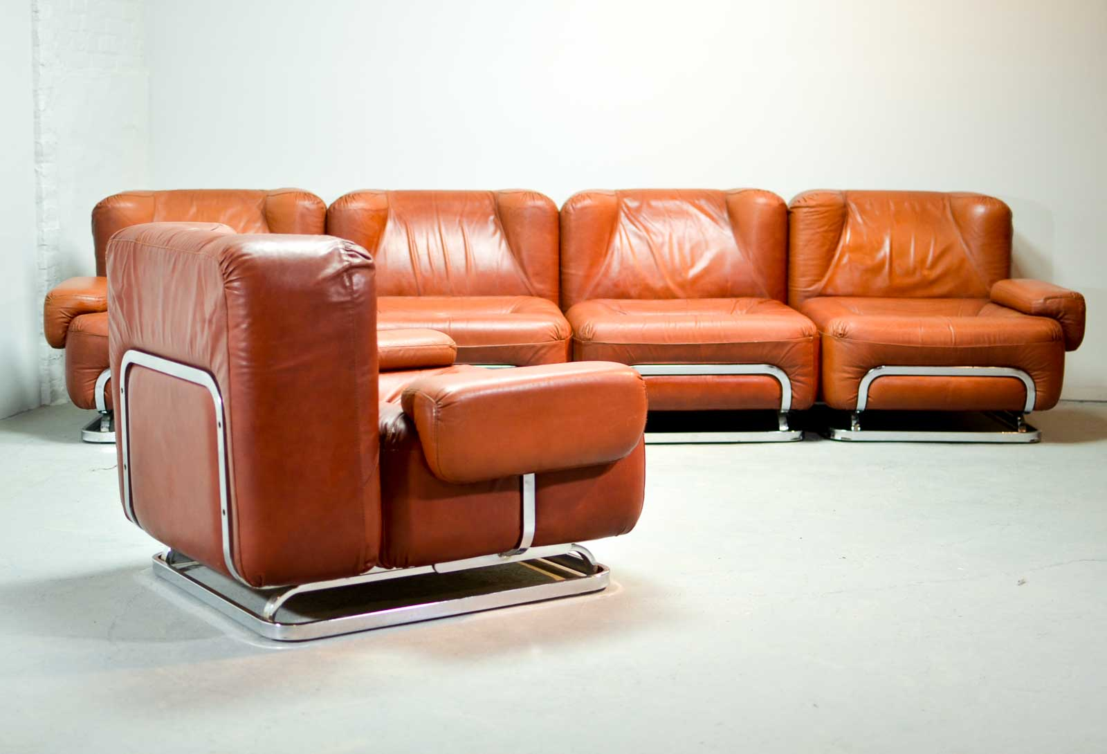 Mid Century Leather 4 Seat Sofa And Lounge Chair In Style