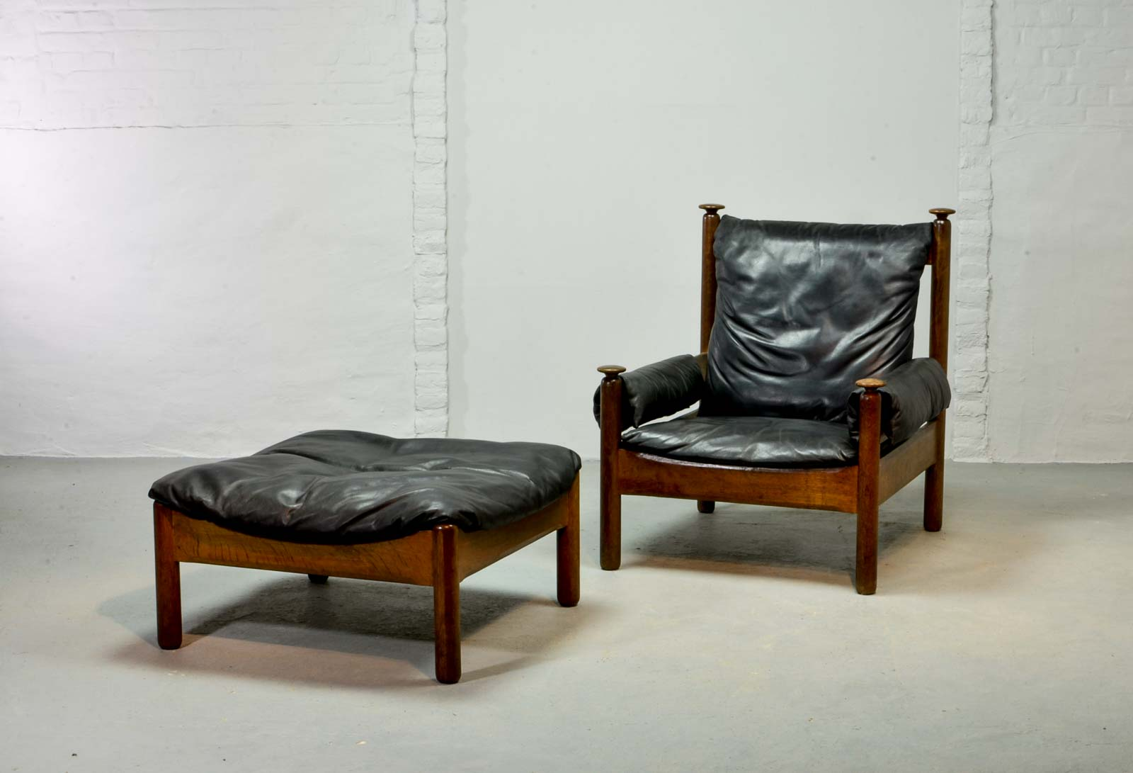 Sturdy Mid Century Black Leather Scandinavian Lounge Chair With Ottoman 1960s Hpvintage Com