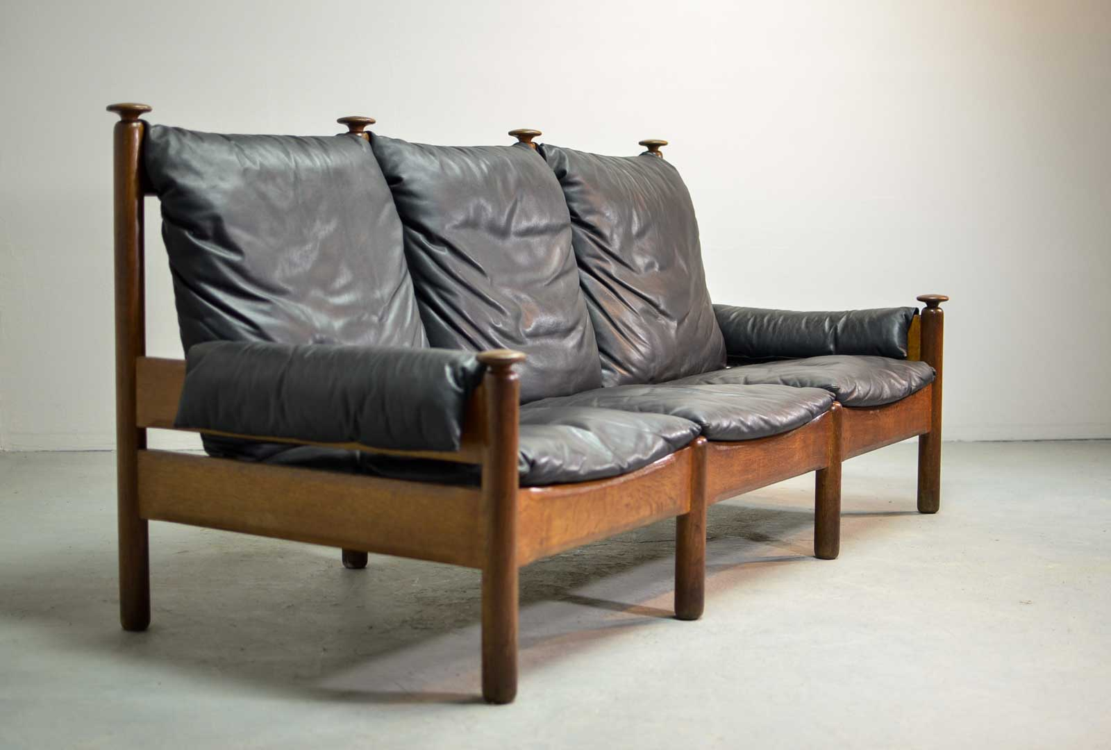 Sturdy Mid Century Smooth Black Leather Scandinavian 3 Seat Sofa, 1960s