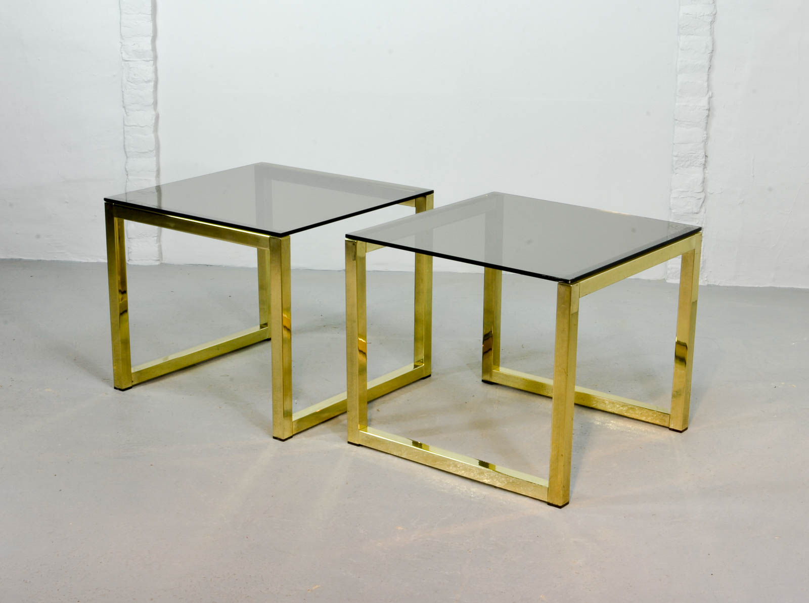 Pair Of Mid Century Hollywood Regency Cubic Side Tables With