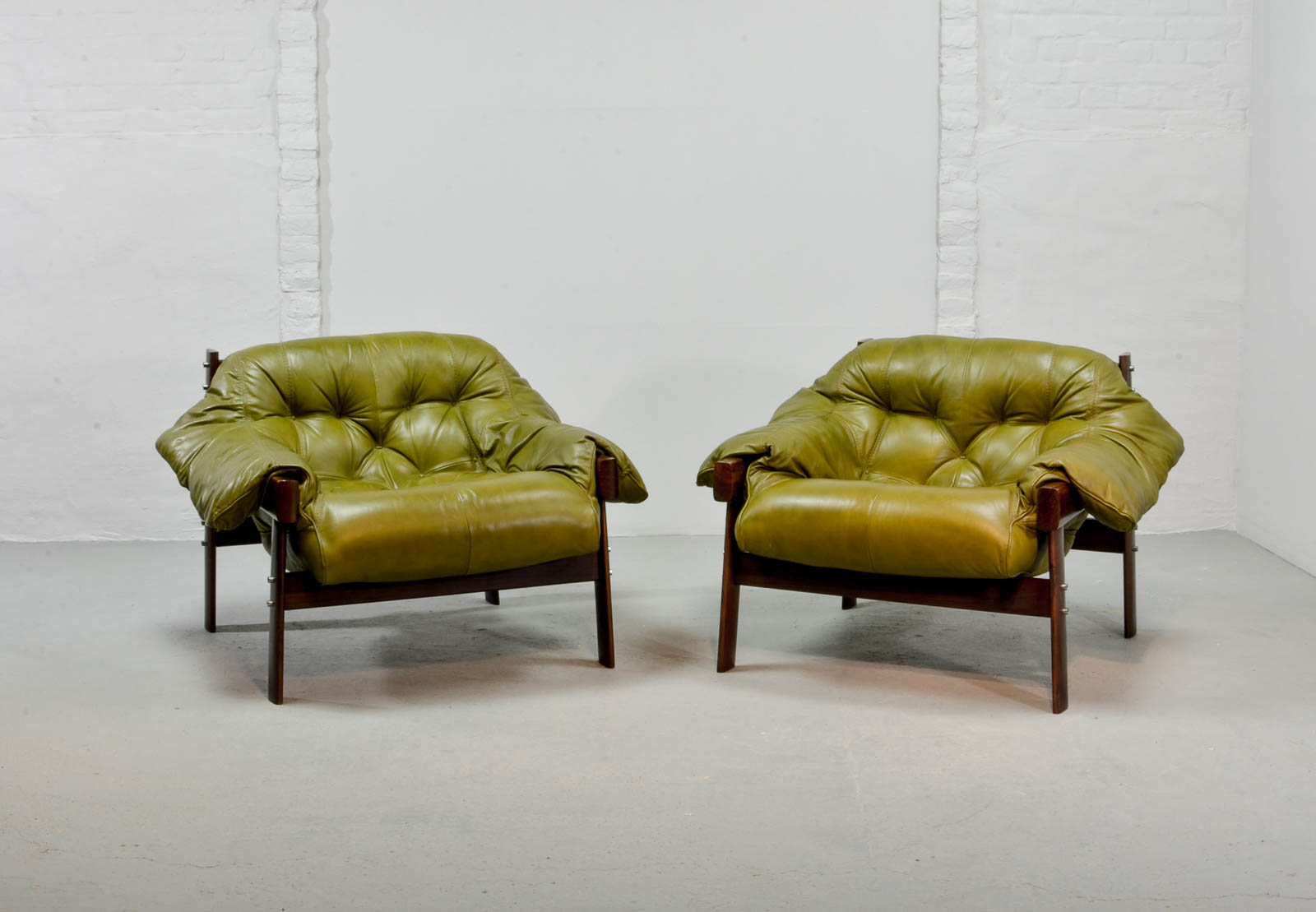 Beautiful Set Of Olive Green Leather Lounge Chairs With Ottoman By