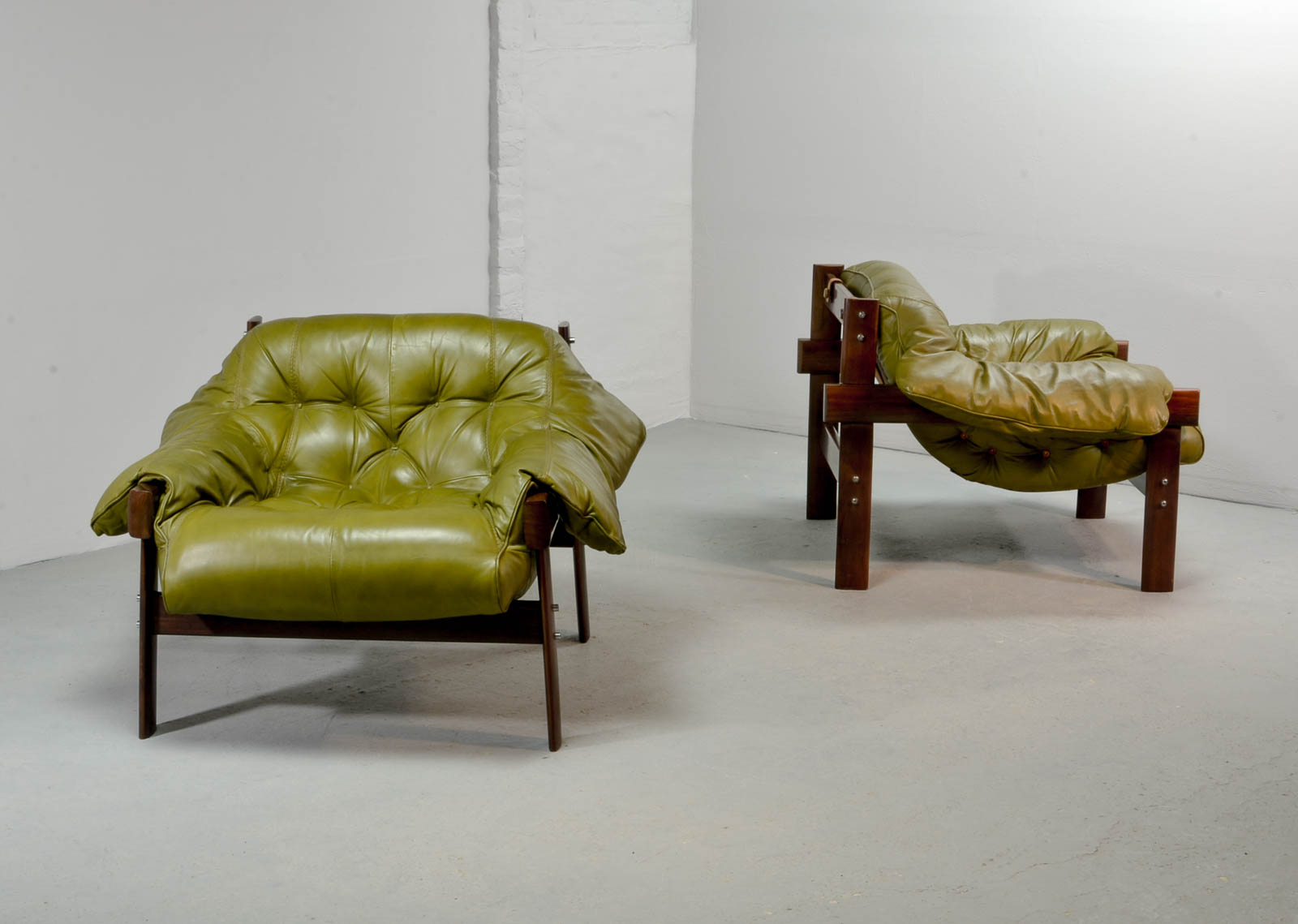 Beautiful Set Of Olive Green Leather Lounge Chairs With Ottoman By Percival  Lafer