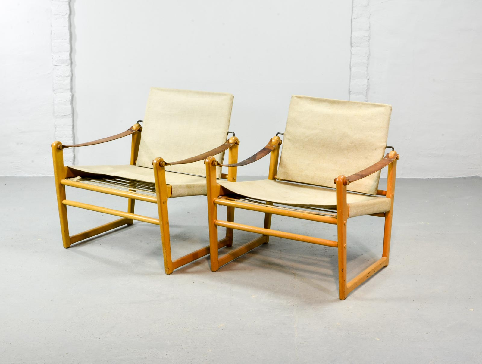 Pair Of Mid Century Safari Chairs Designed By Bengt Ruda For Ikea, 1960s