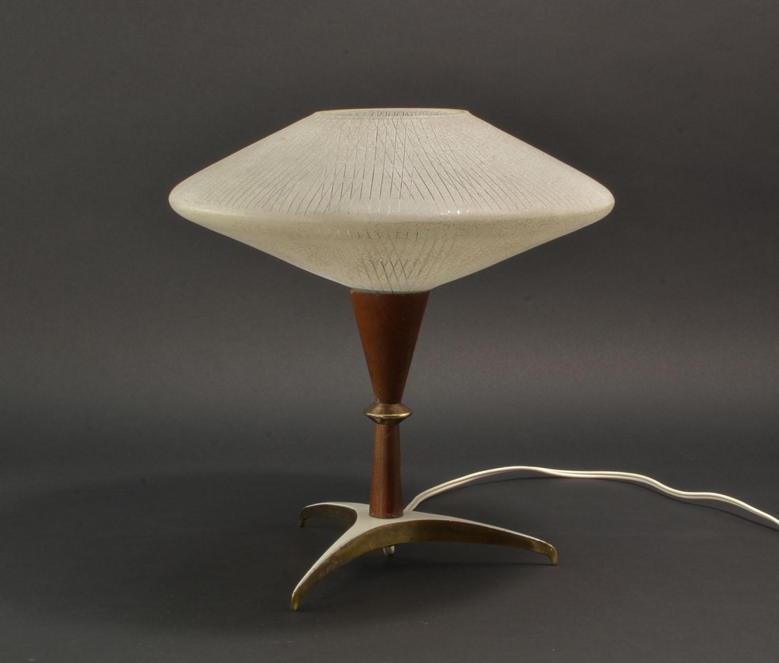 Mid Century Decorative Atomic Tripod Teak Brass Glass Table Lamp, 1950s