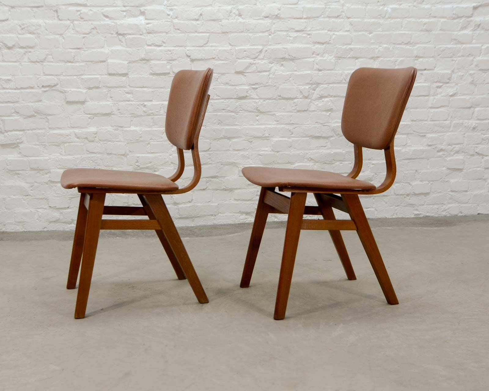 Pair of dutch design teak wood dining chairs in style of for Dutch design chair karton
