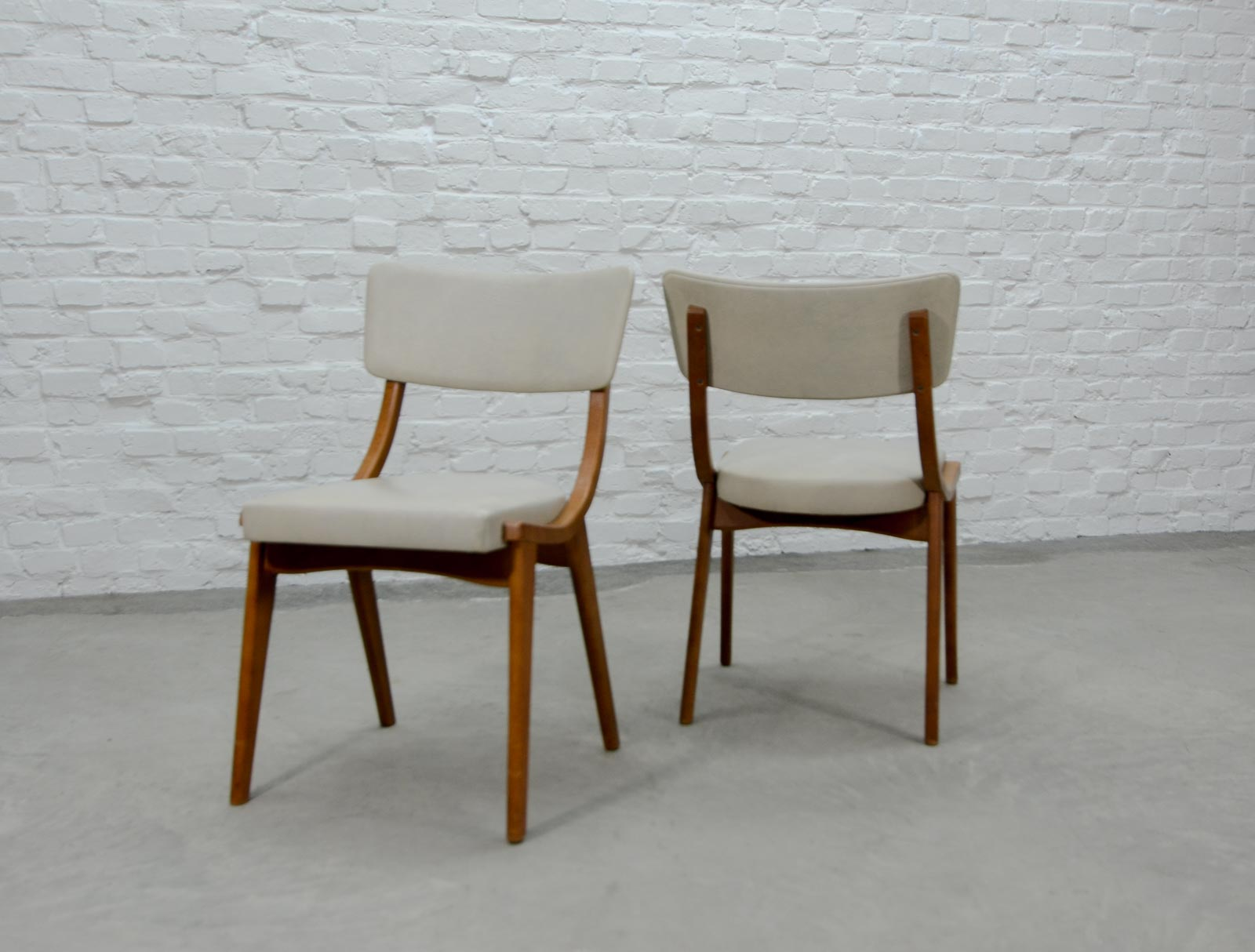 Pair of Beech Wooden Scandinavian Dining Chairs with White Leatherette Upholstery 1960s & Pair of Beech Wooden Scandinavian Dining Chairs with White ...