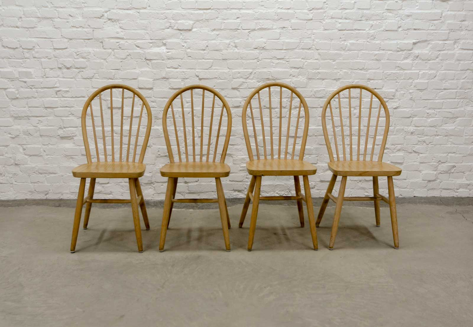 Fabulous Set Of Four Scandinavian Beech Wood Spindle Back Dining Pabps2019 Chair Design Images Pabps2019Com