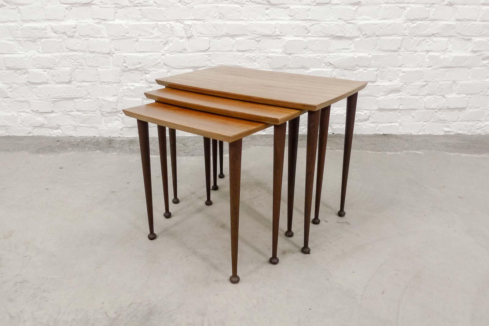 Mid Century Scandinavian Rectangle Set Of Three Teak Nesting Tables, 1960s